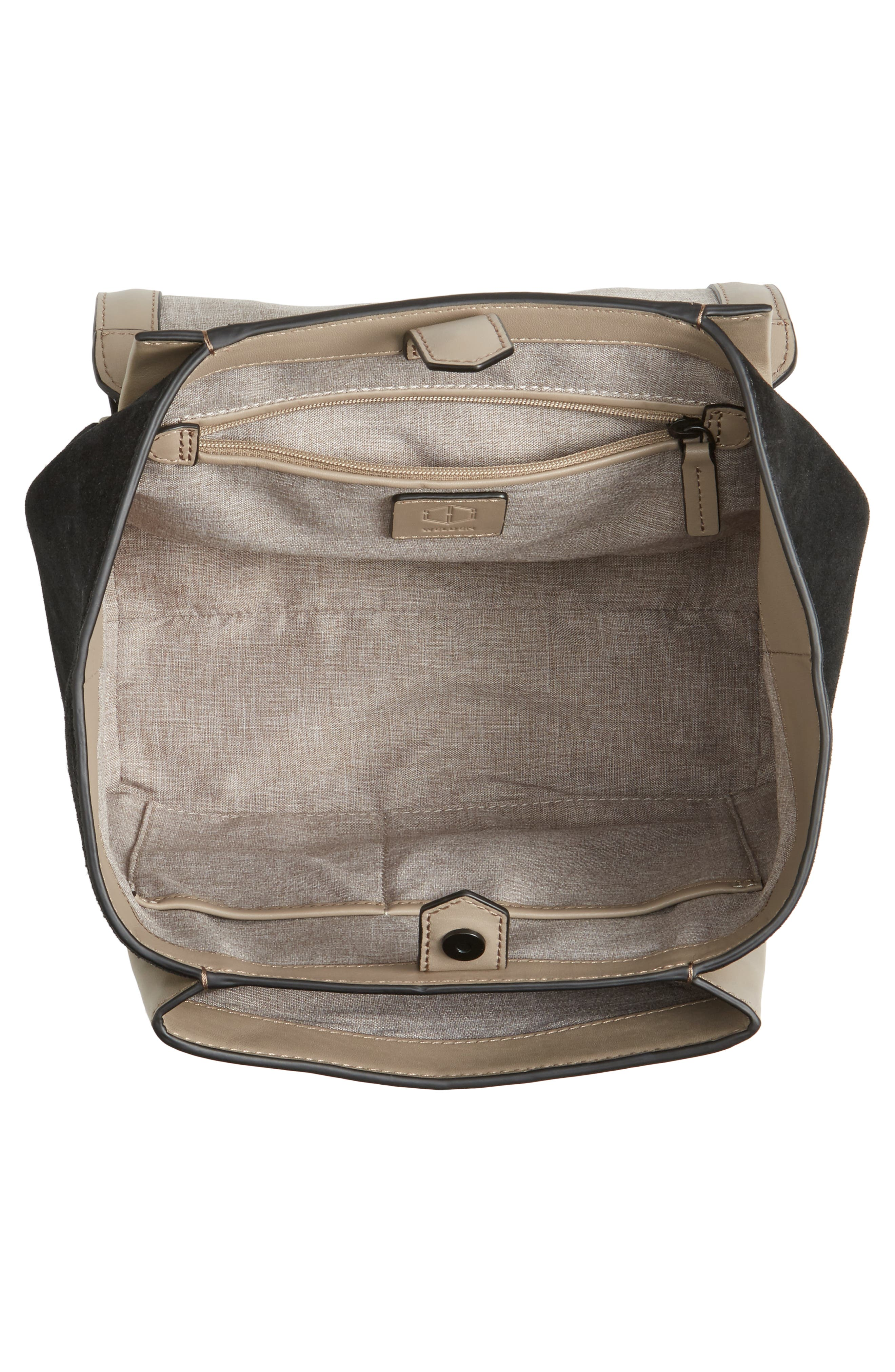 Small Saunter Colorblocked Leather & Suede Top Handle Satchel,                             Alternate thumbnail 3, color,                             Black/ Taupe