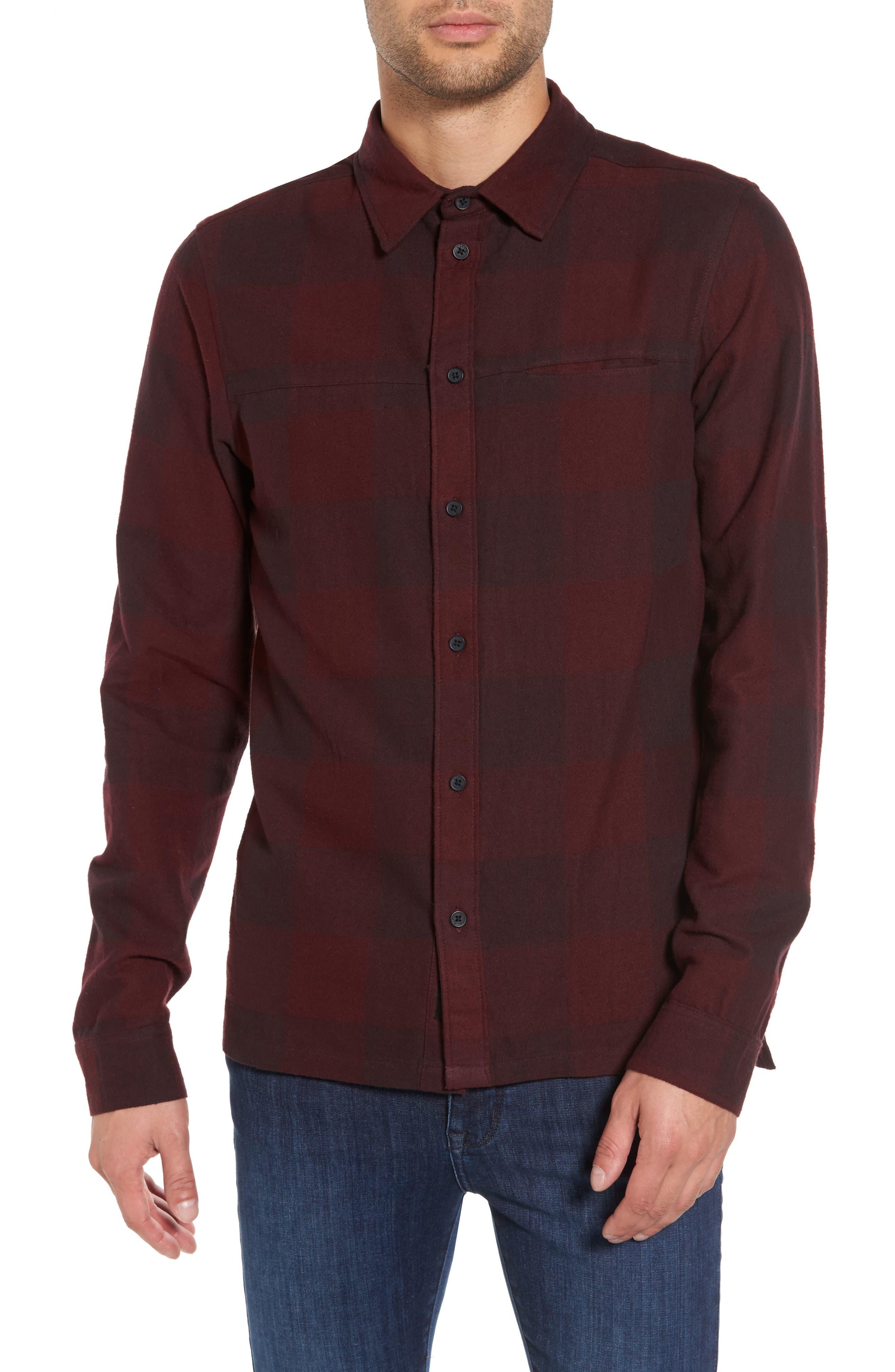 Chalgrove Buffalo Plaid Flannel Sport Shirt,                         Main,                         color, Burgundy