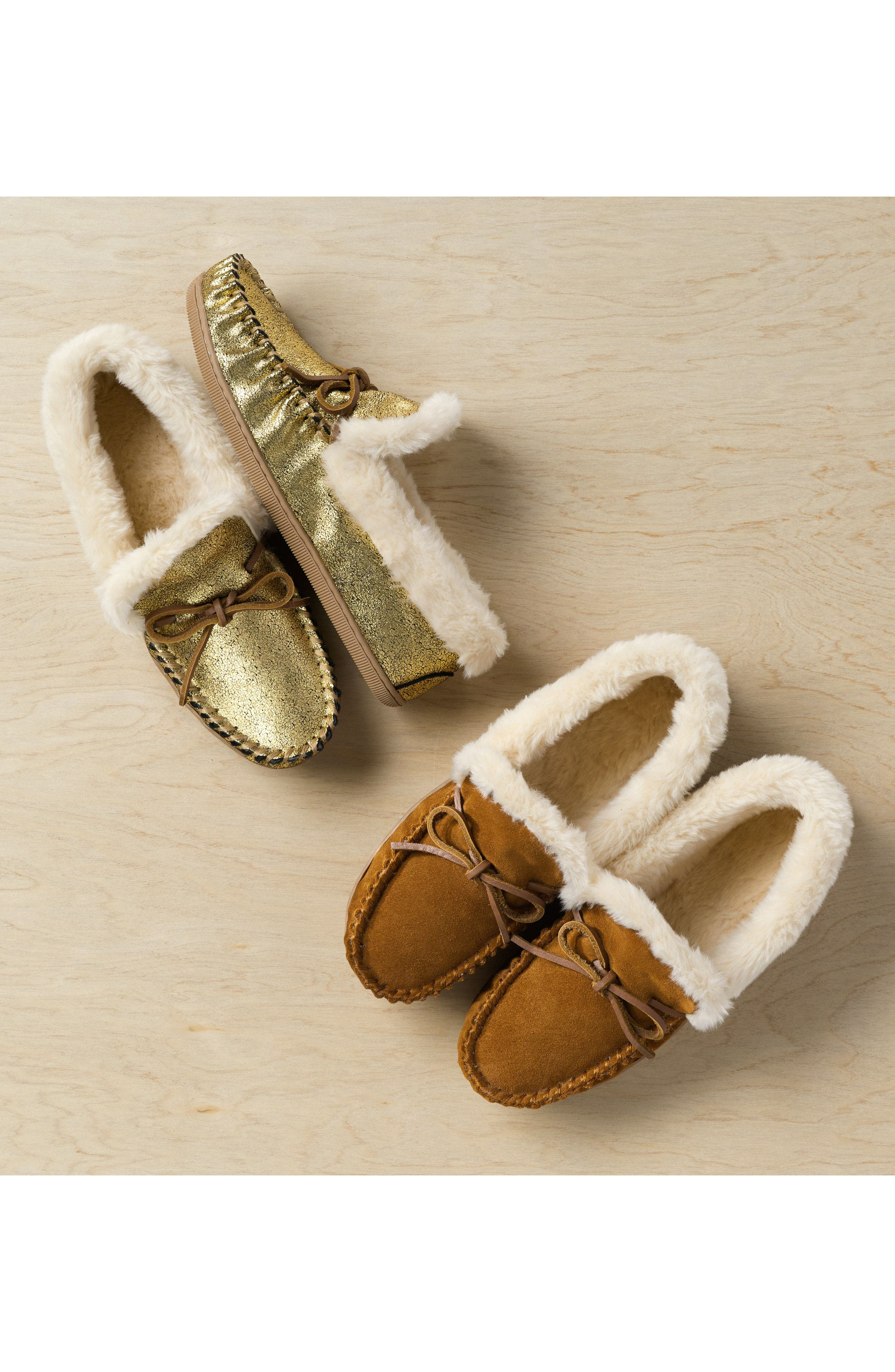 J.Crew Lodge Faux Shearling Moc Slipper,                             Alternate thumbnail 2, color,