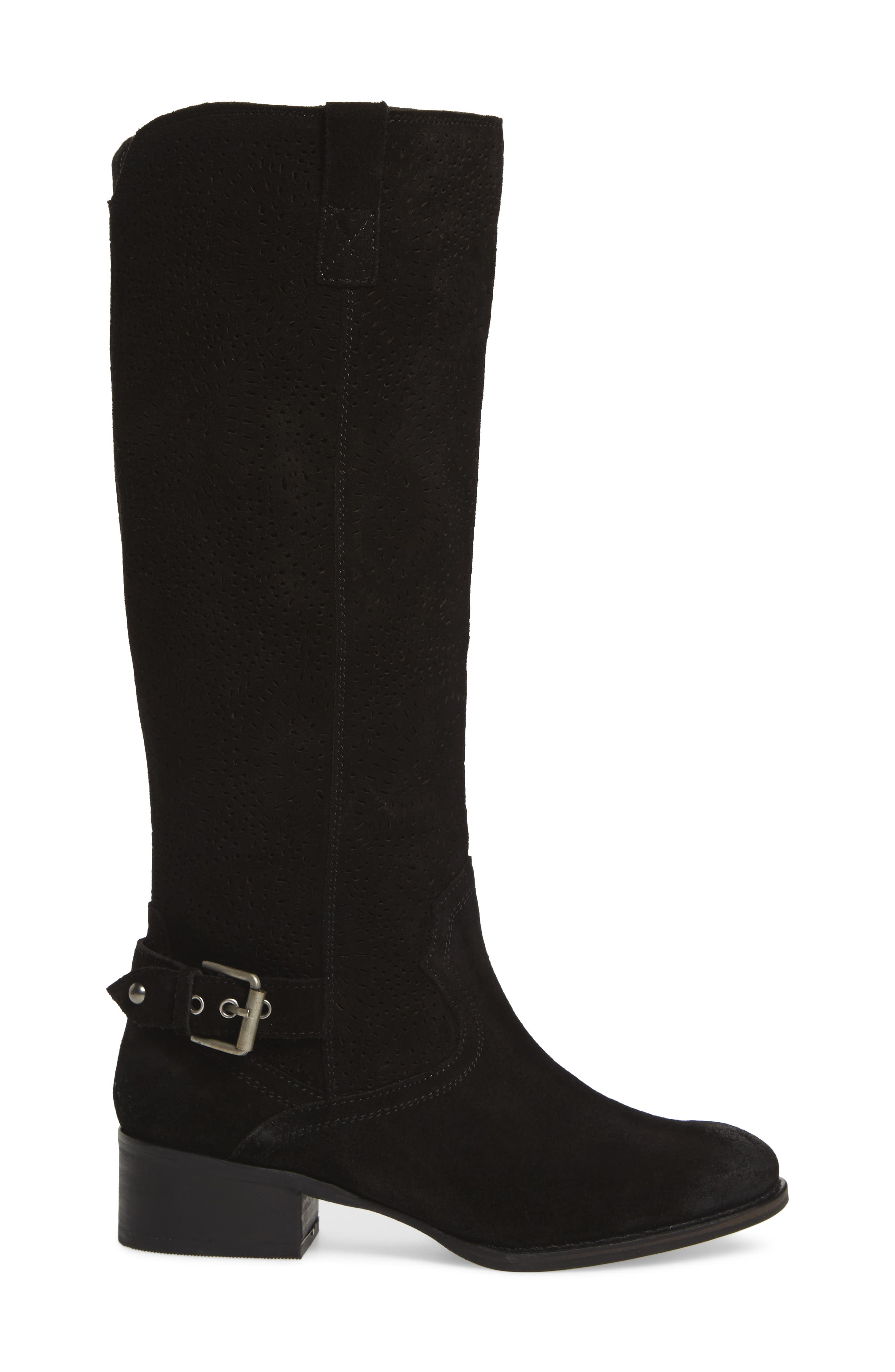 Ziba Tall Boot,                             Alternate thumbnail 3, color,                             Black Suede