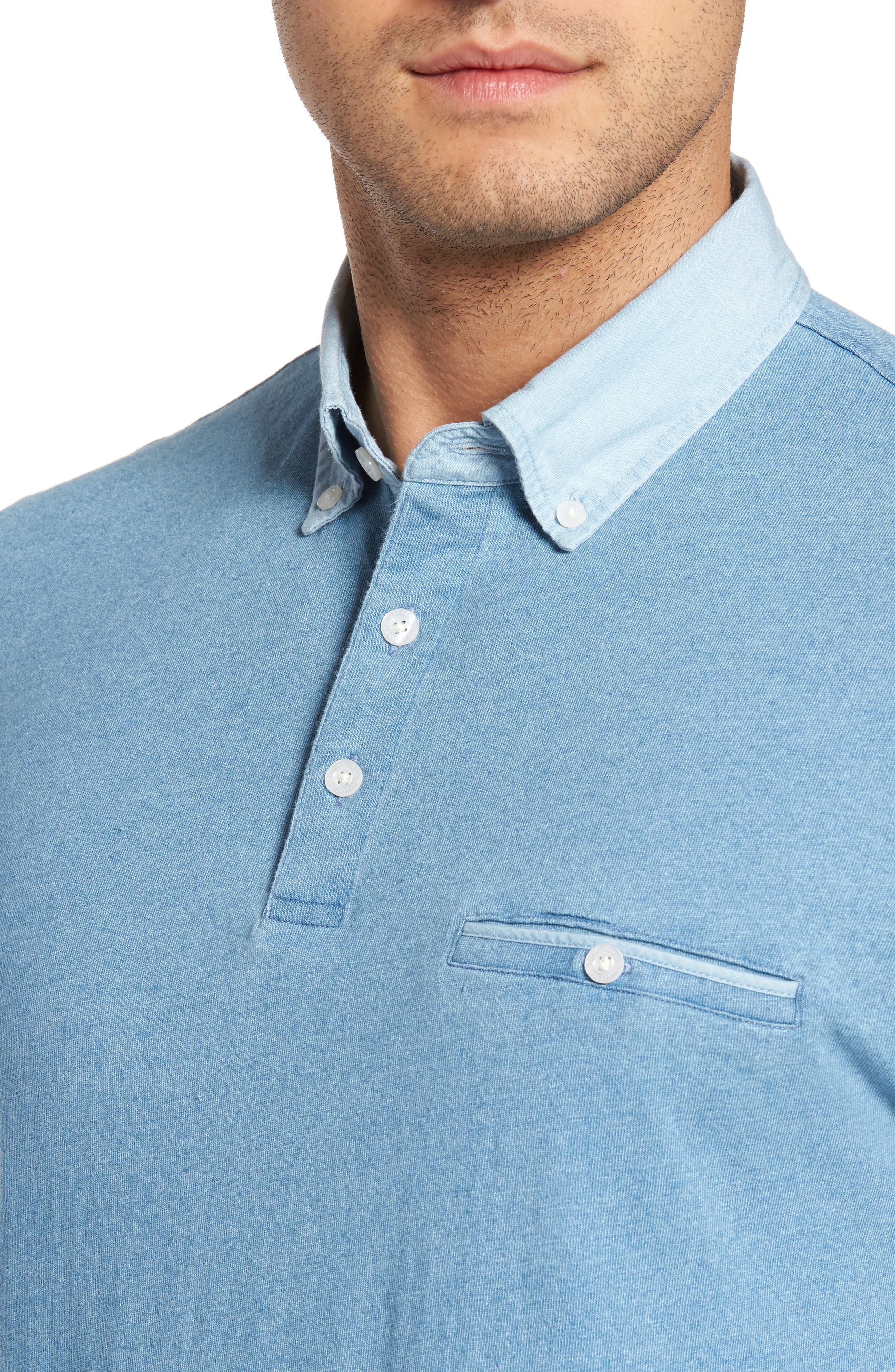 Alternate Image 4  - Thomas Dean Denim Trim Jersey Polo