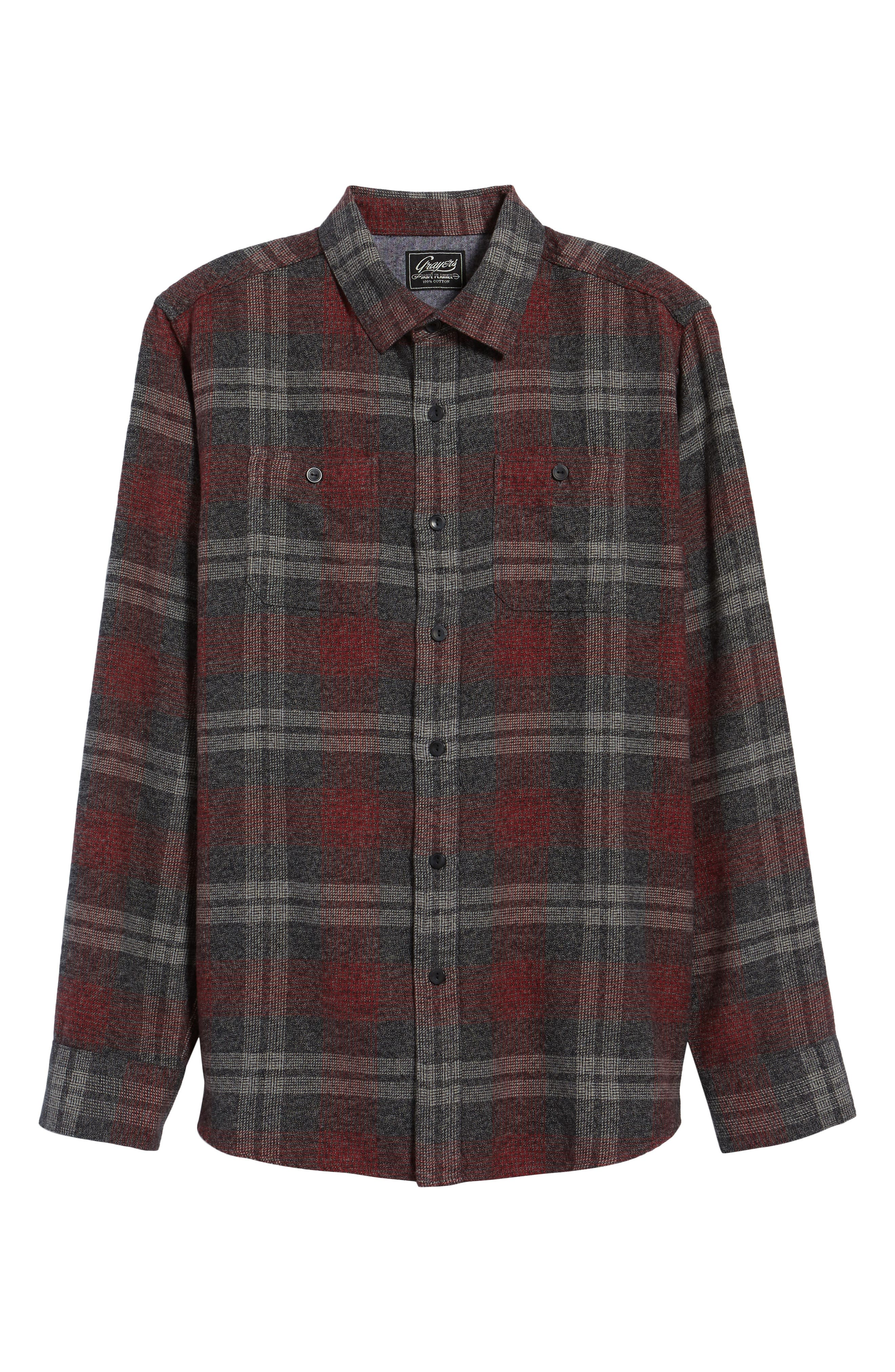 Marston Lux Plaid Flannel Shirt,                             Alternate thumbnail 6, color,                             Charcoal Burgundy