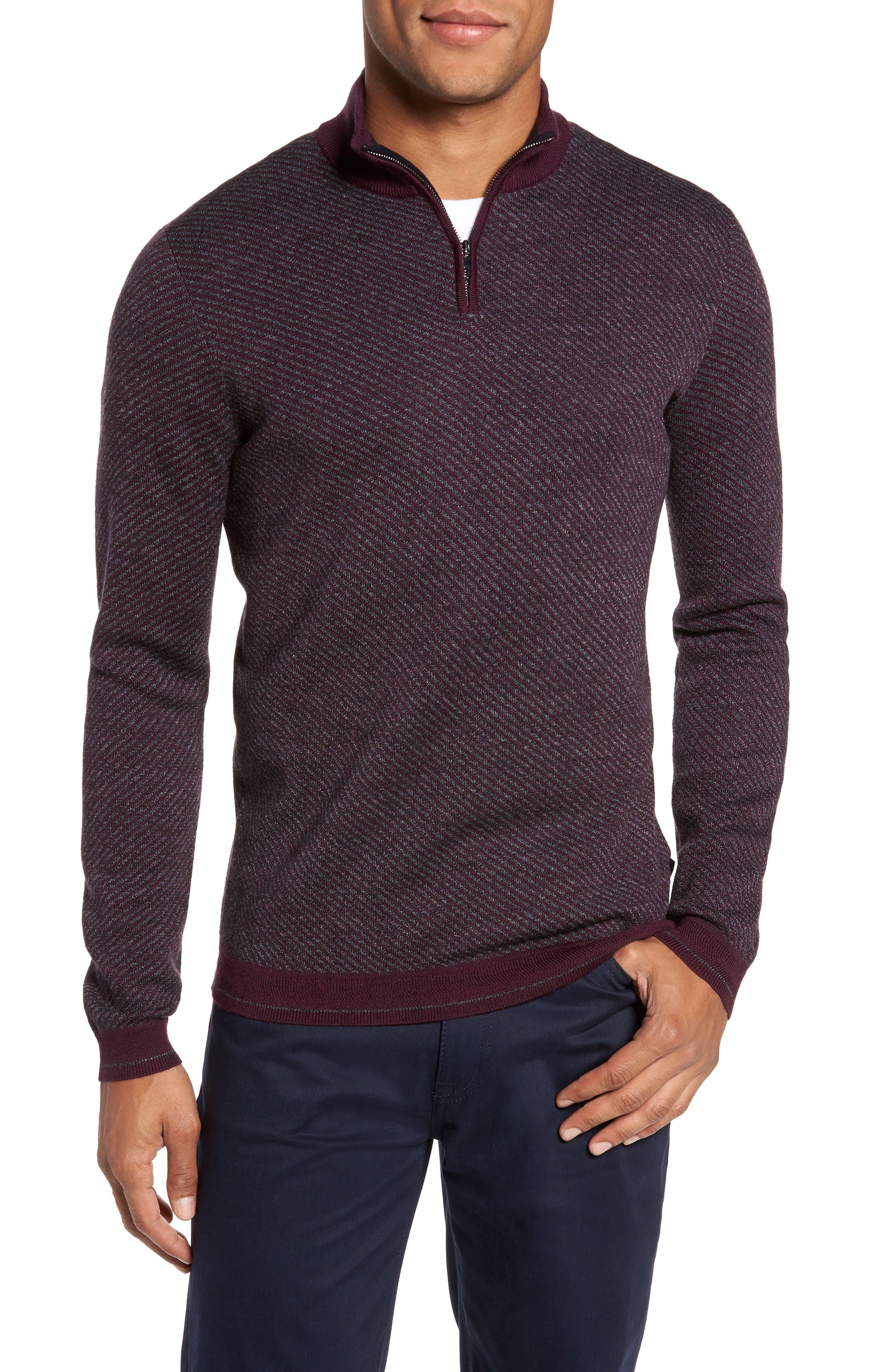 Stripe Quarter Zip Sweater,                         Main,                         color, Purple