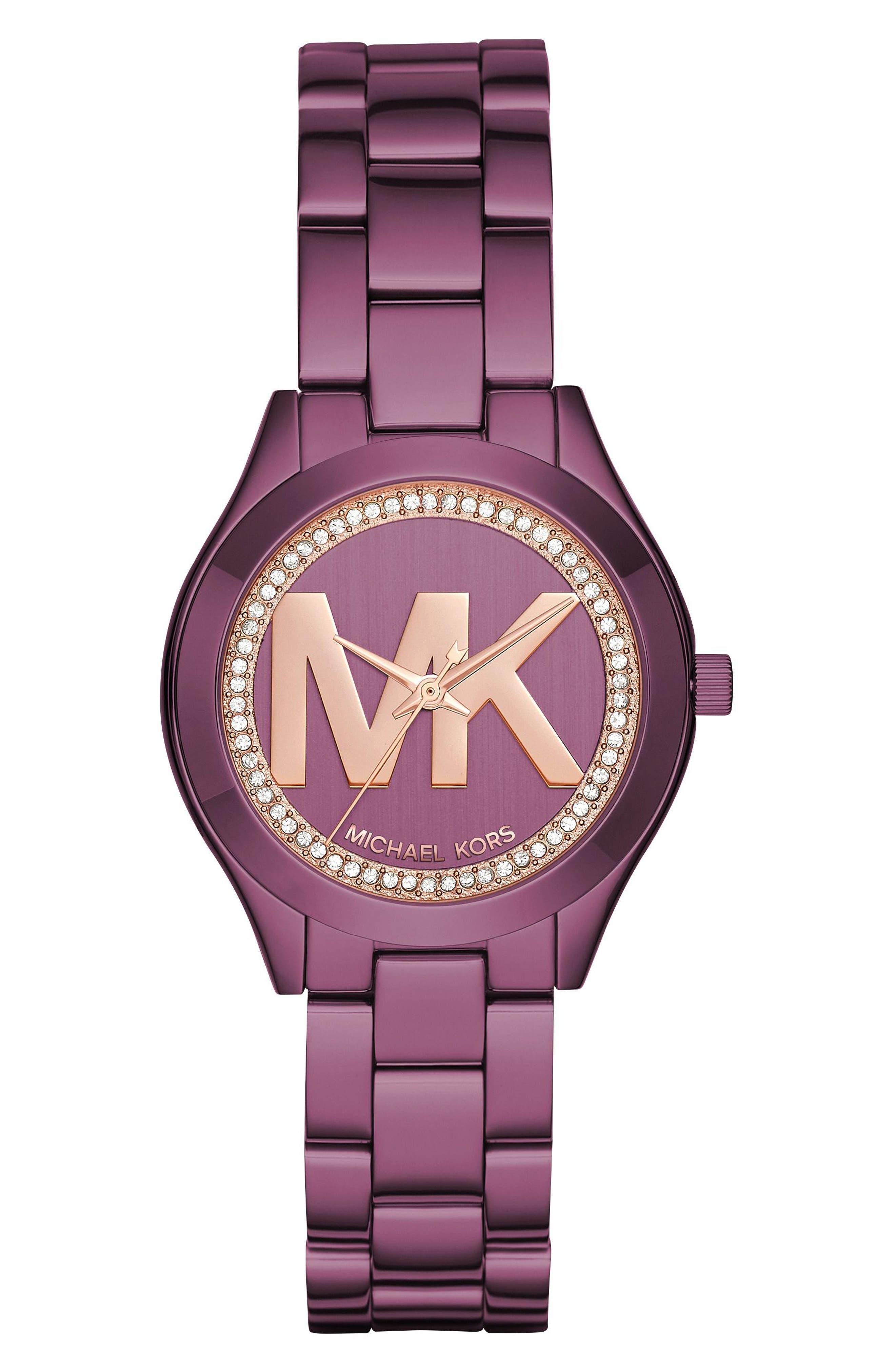 Mini Slim Runway Crystal Bracelet Watch, 33mm,                         Main,                         color, Purple