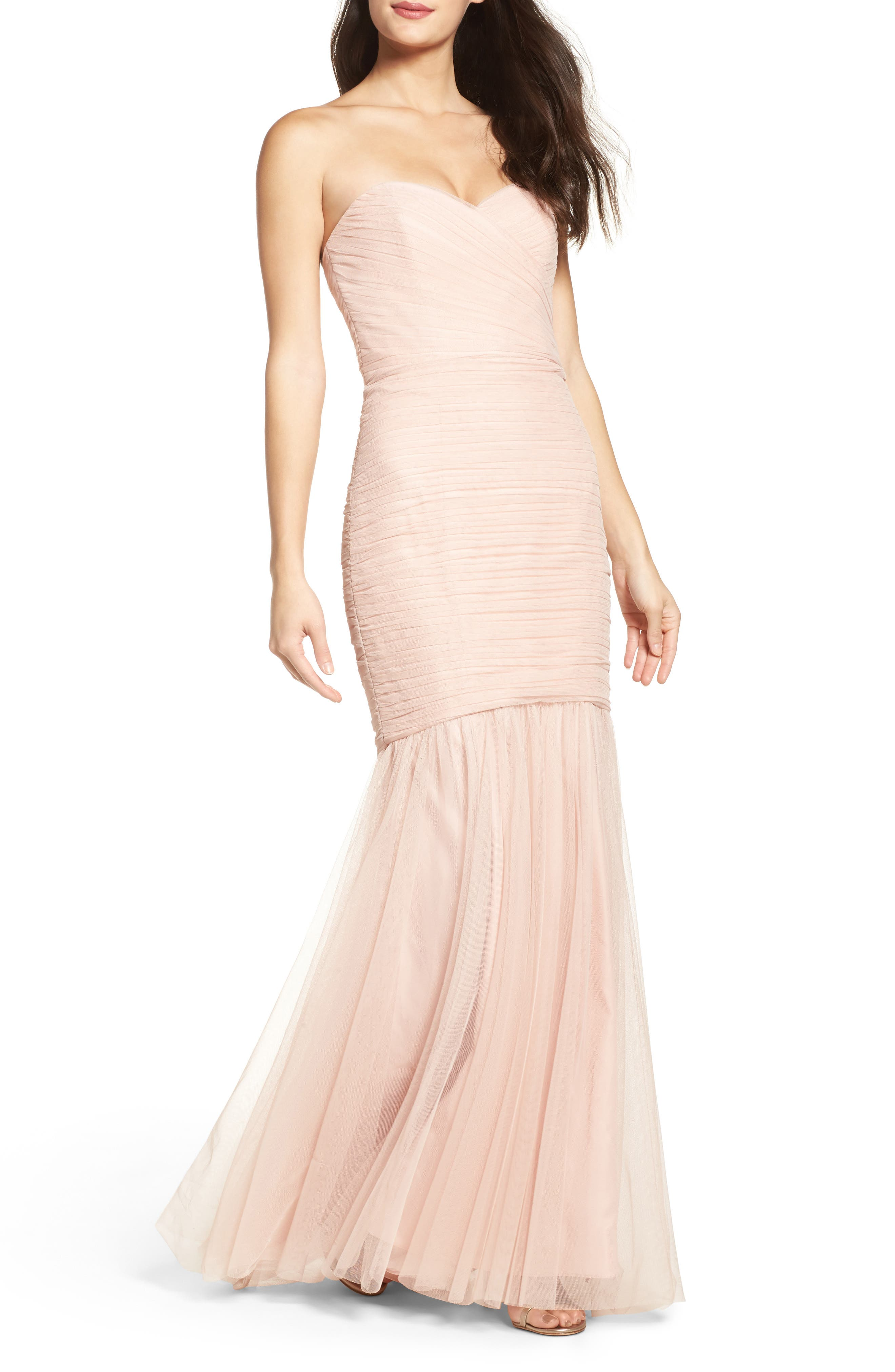 Strapless Crinkle Chiffon Gown,                         Main,                         color, Blush