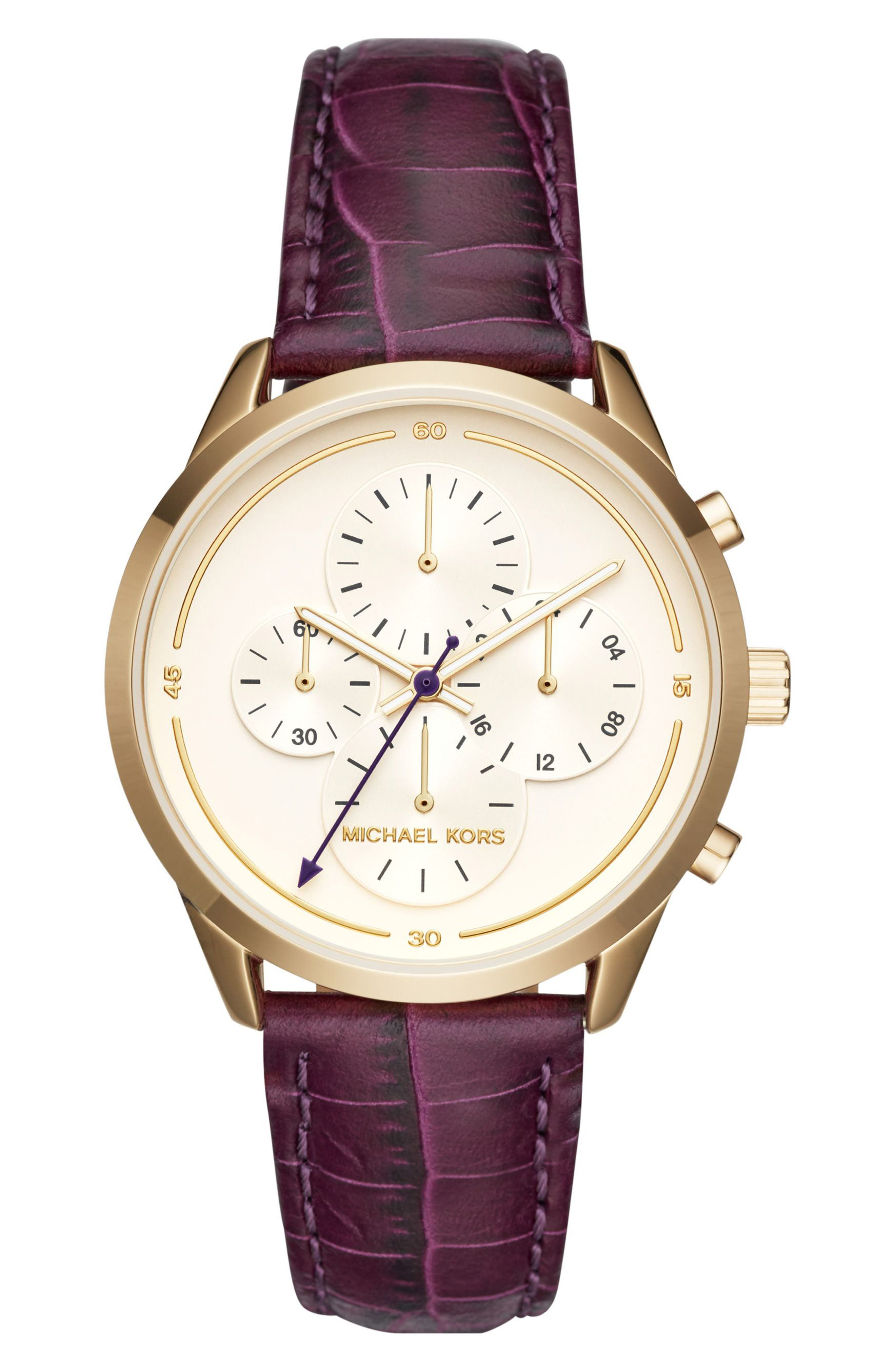 Slater Chronograph Leather Strap Watch, 40mm,                             Main thumbnail 1, color,                             Purple/ White/ Gold