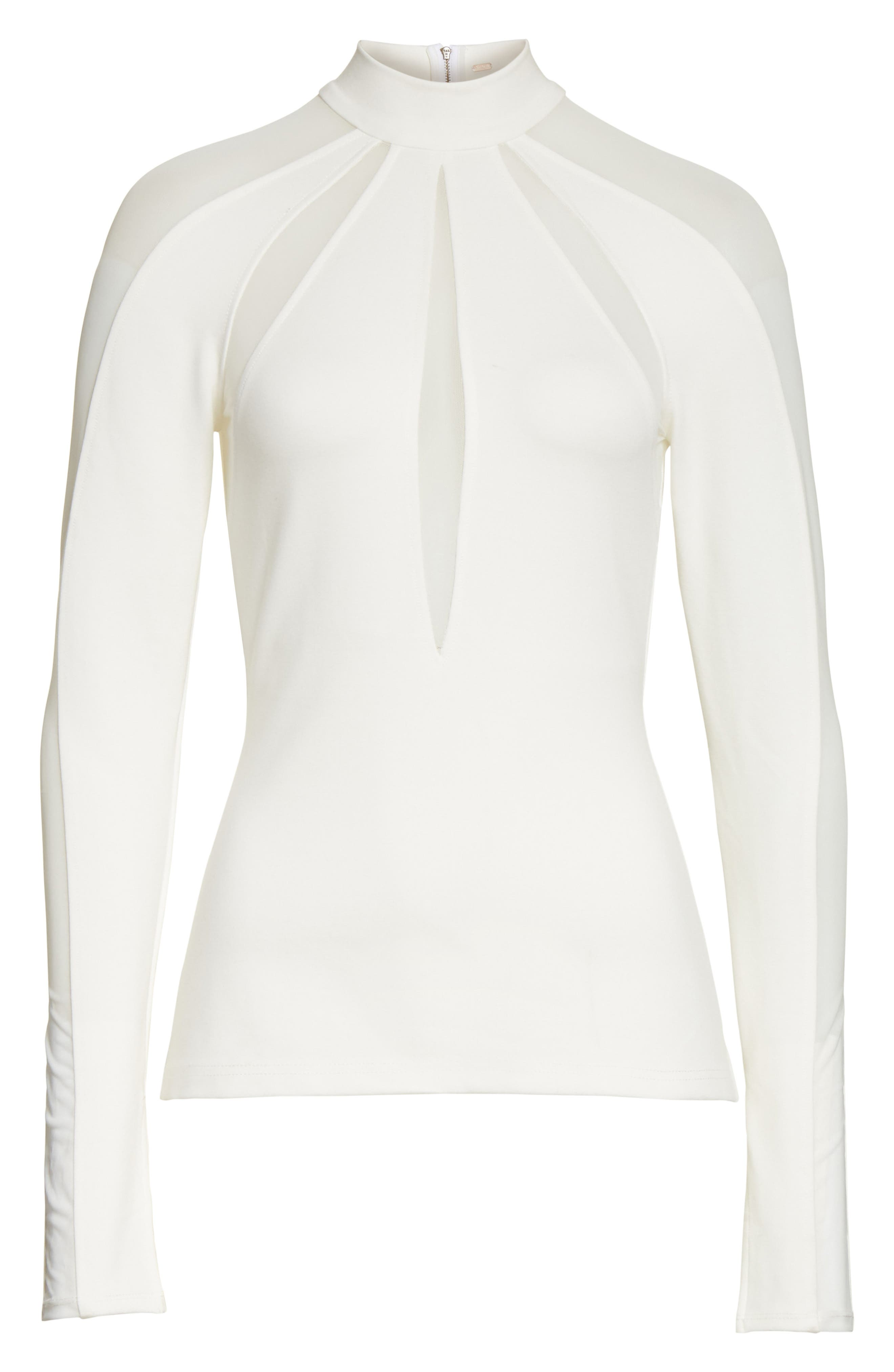 Monarch Mesh Inset Top,                             Alternate thumbnail 6, color,                             Ivory