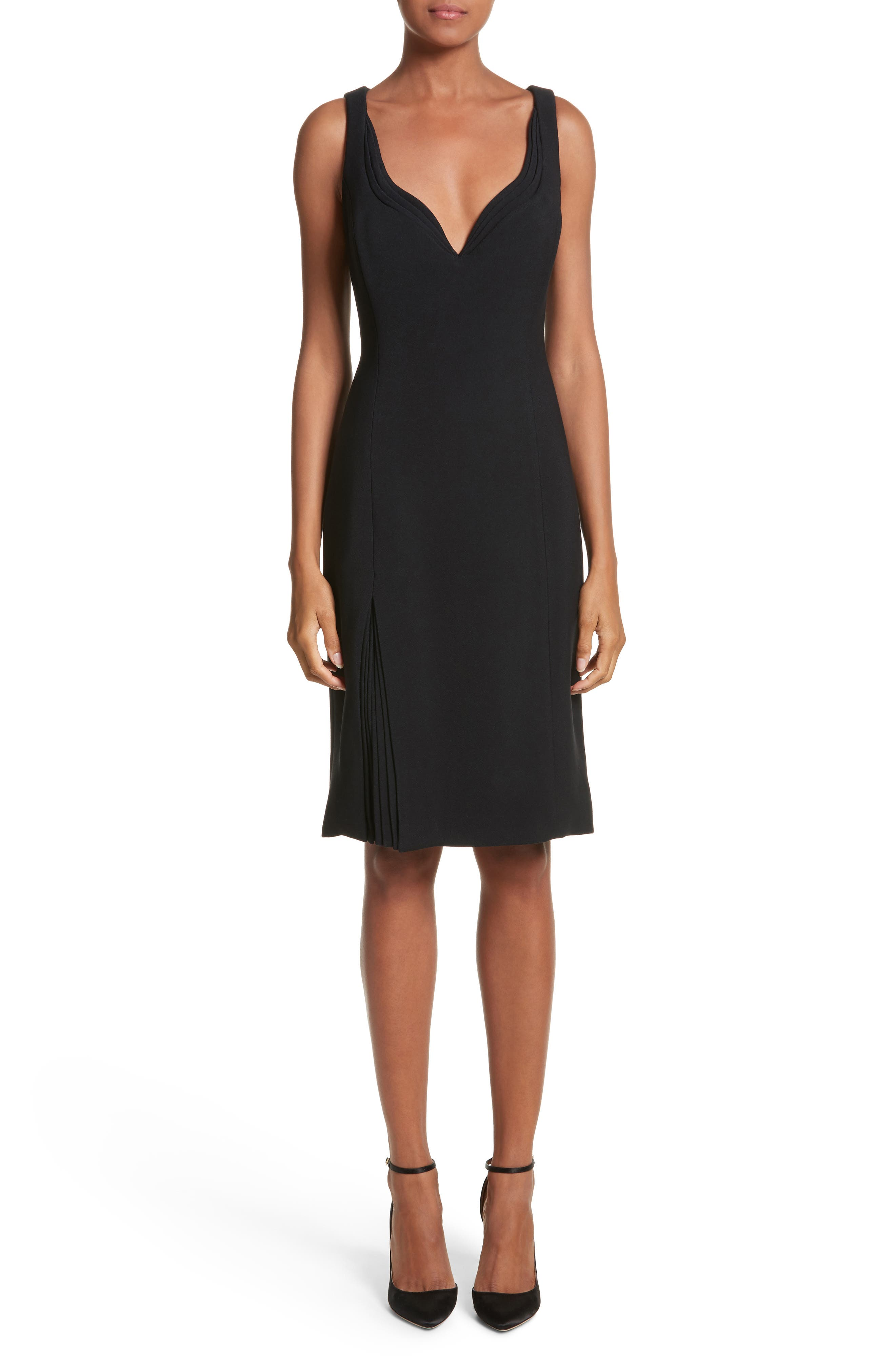 Sweetheart Neckline Crepe Dress,                         Main,                         color, Black