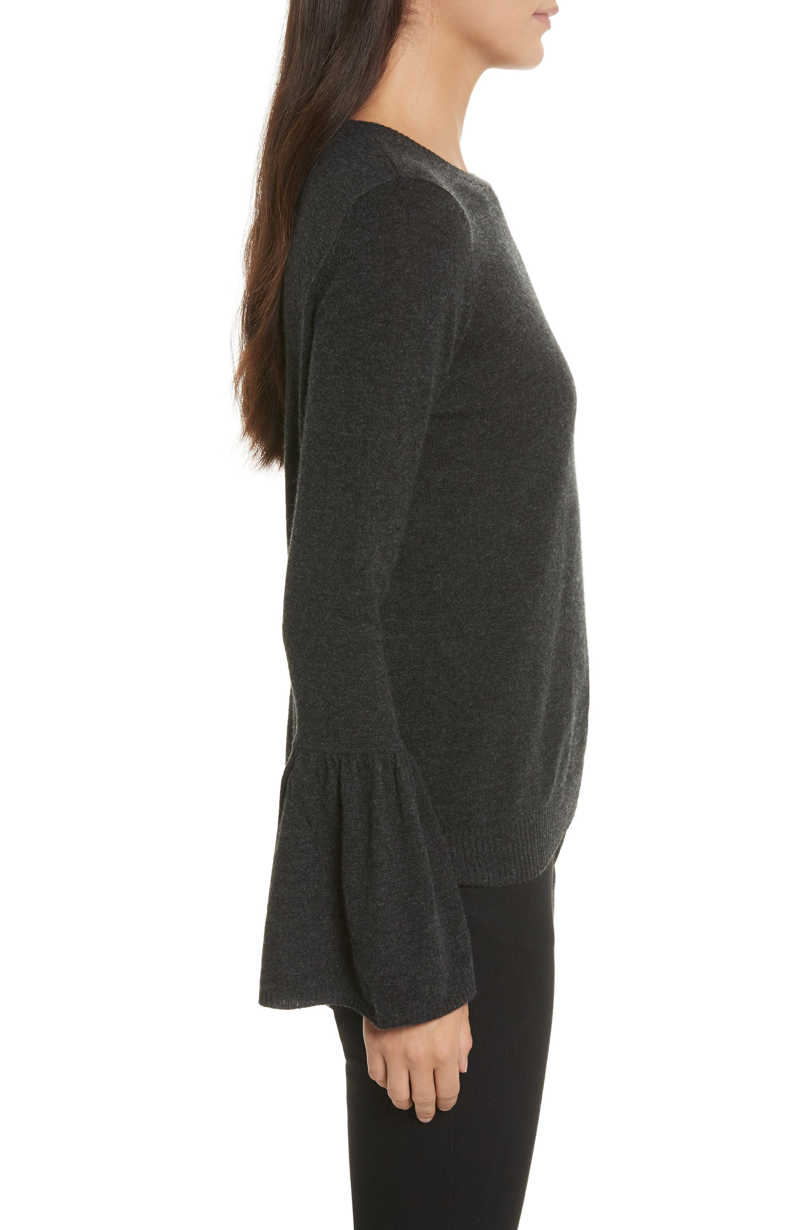 Cashmere Bell Sleeve Sweater,                             Alternate thumbnail 3, color,                             Lead