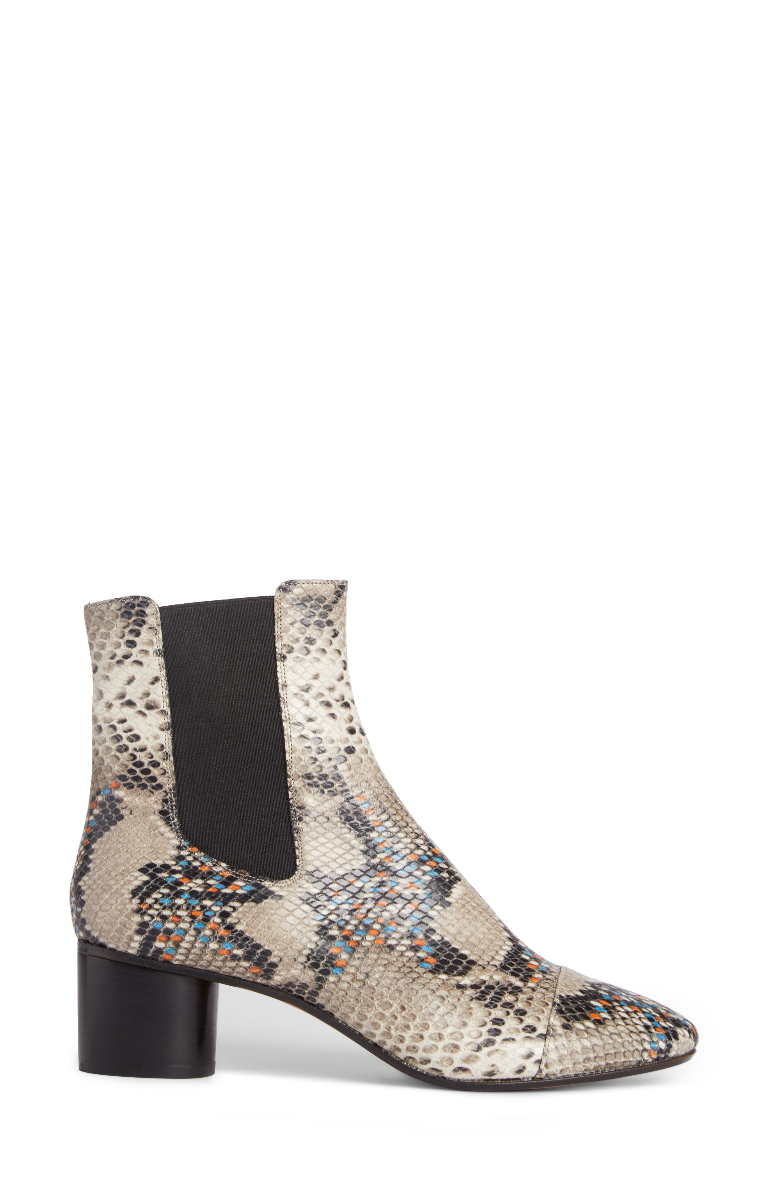 Danelya Snakeskin Embossed Chelsea Boot,                             Alternate thumbnail 4, color,                             Grey