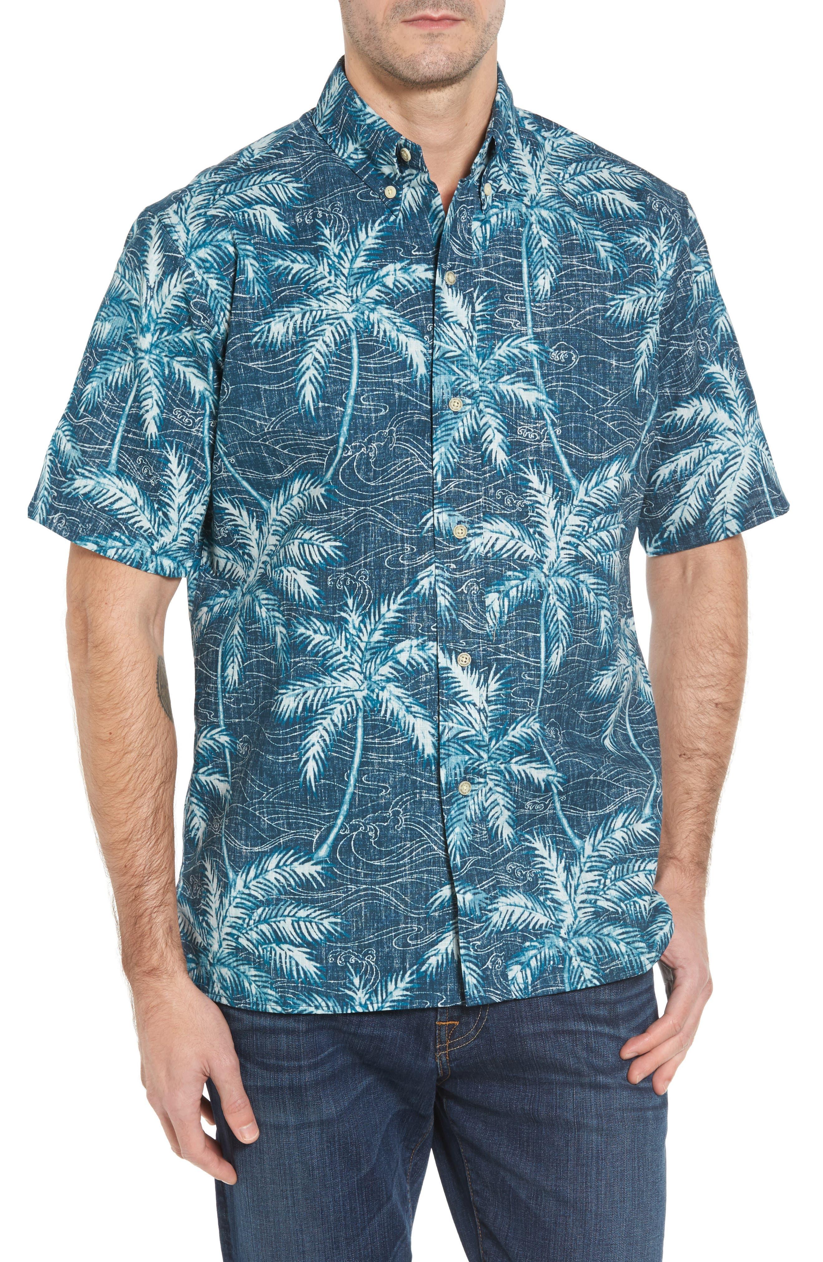Palm Seas Classic Fit Sport Shirt,                         Main,                         color, Navy