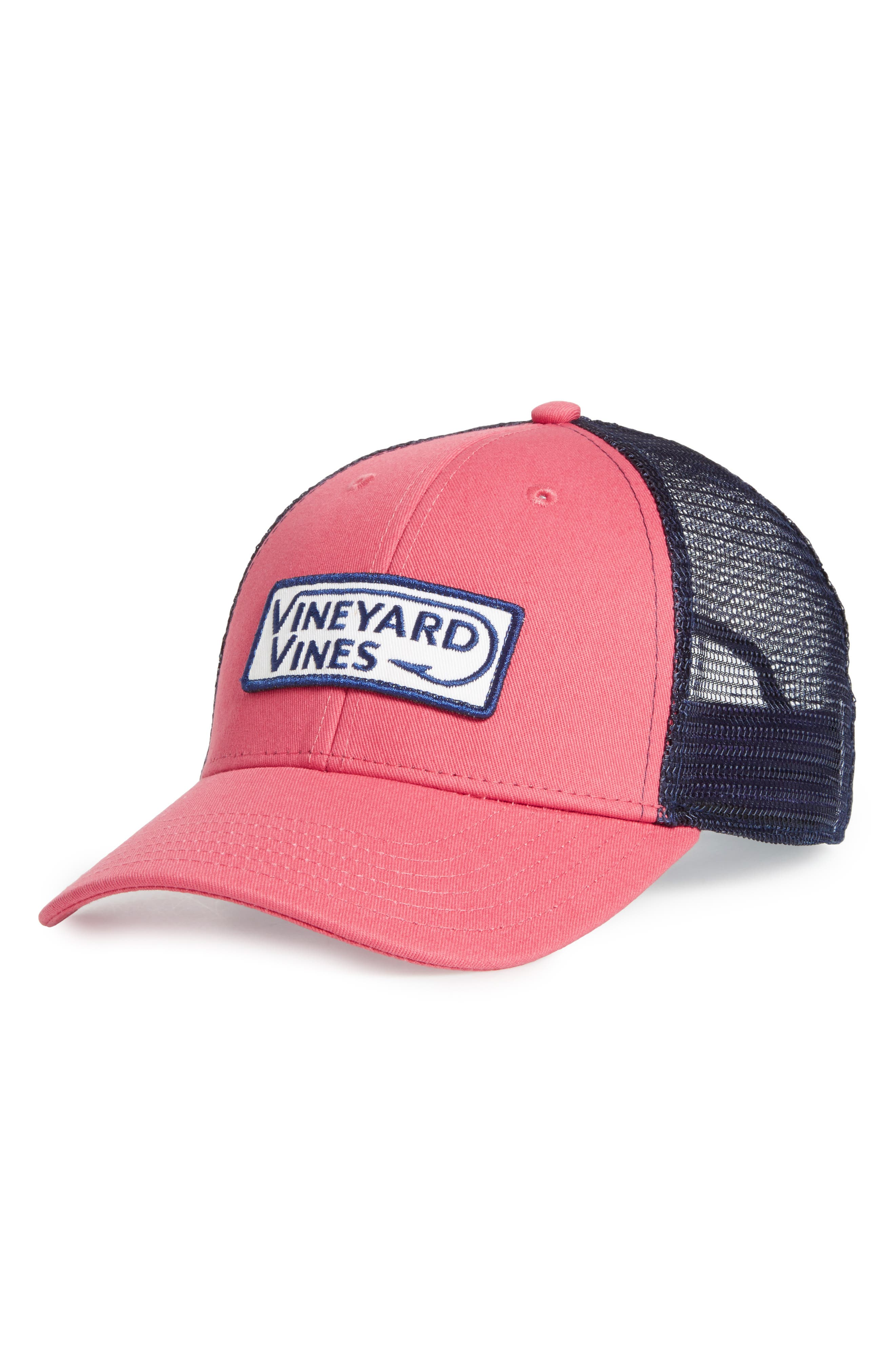 Hook Patch Trucker Cap,                             Main thumbnail 1, color,                             Jetty Red