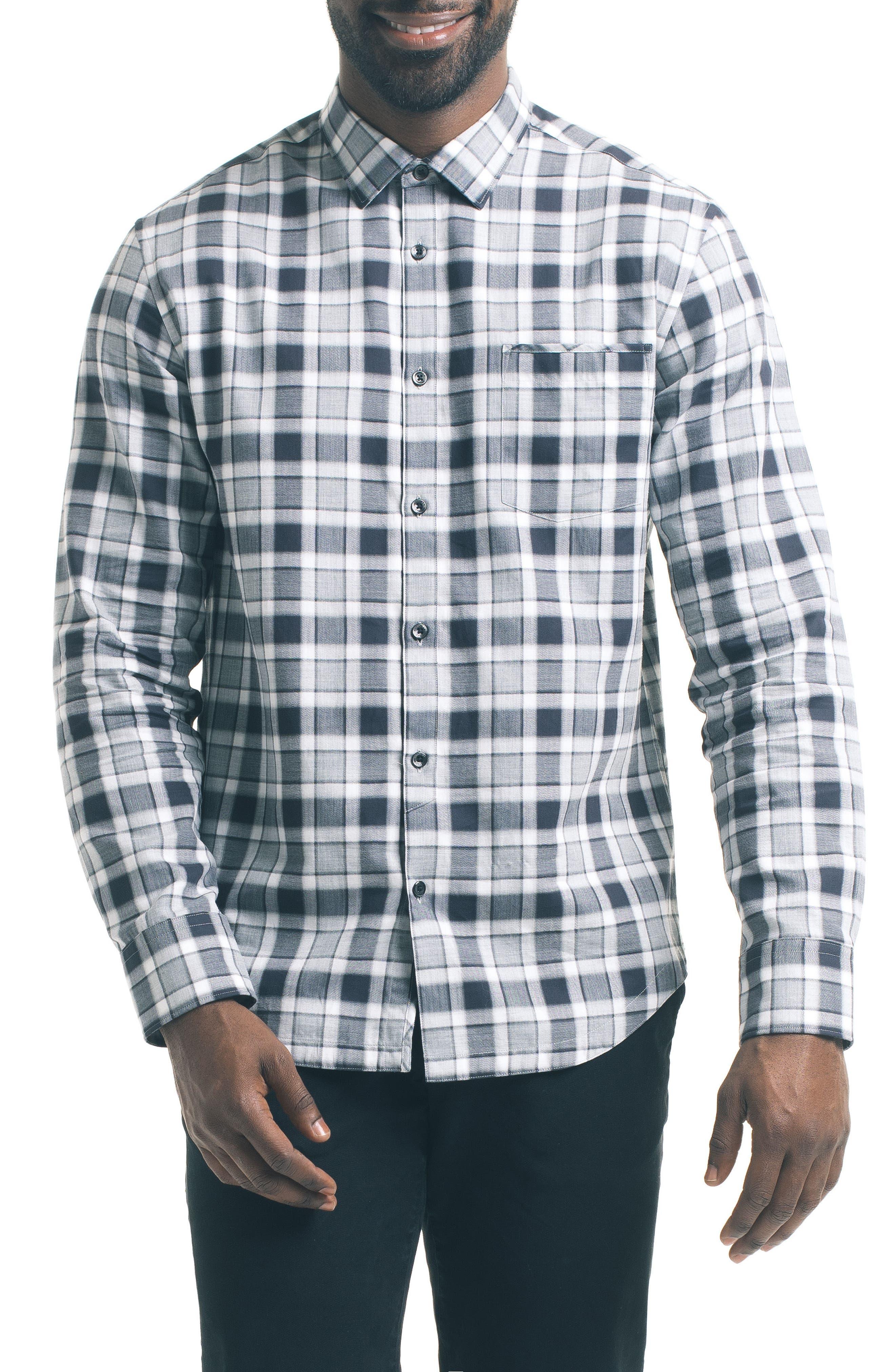 Herringbone Check Sport Shirt,                             Main thumbnail 1, color,                             Grey