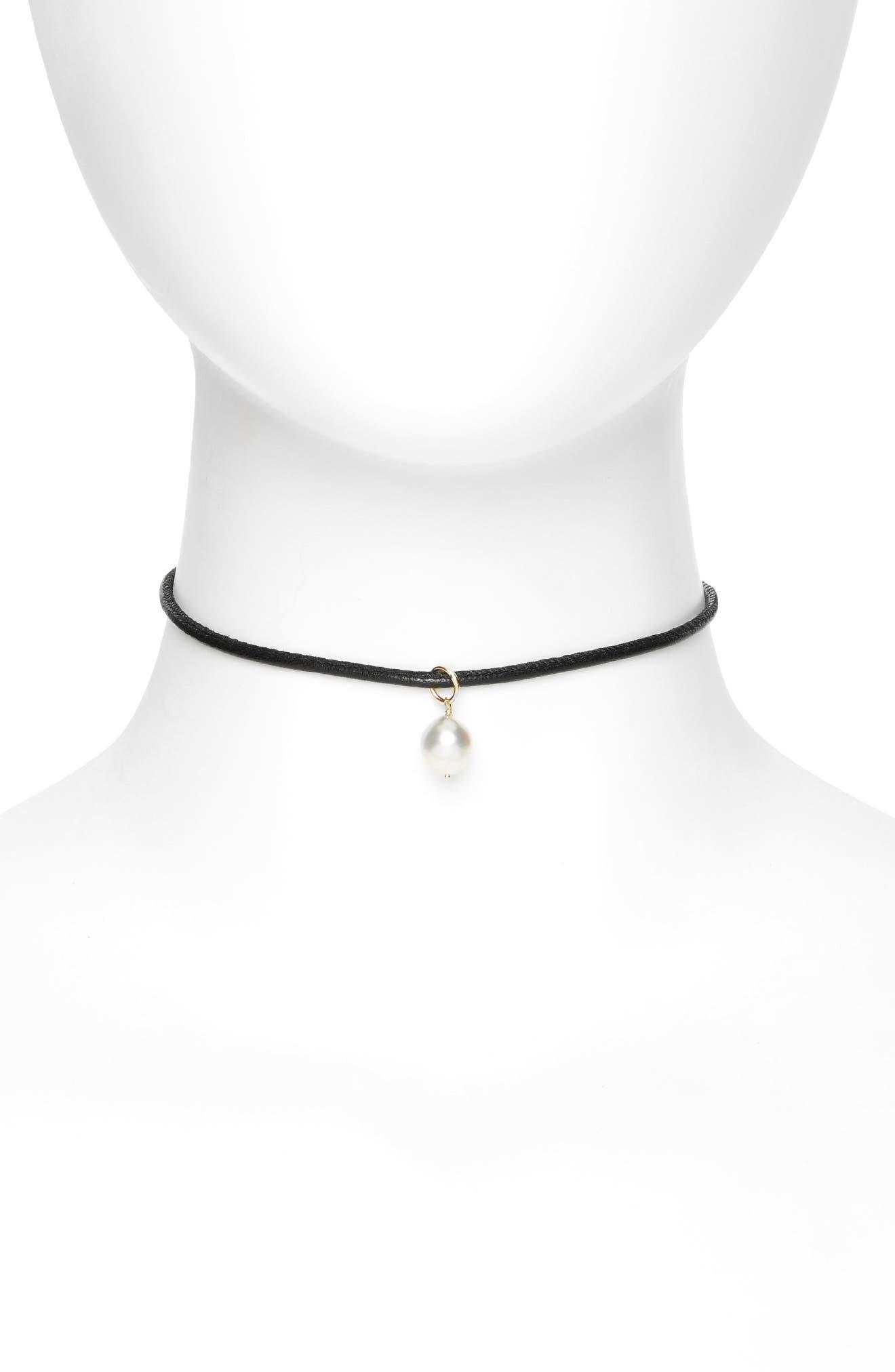 Mizuki Pearl & Leather Choker Necklace
