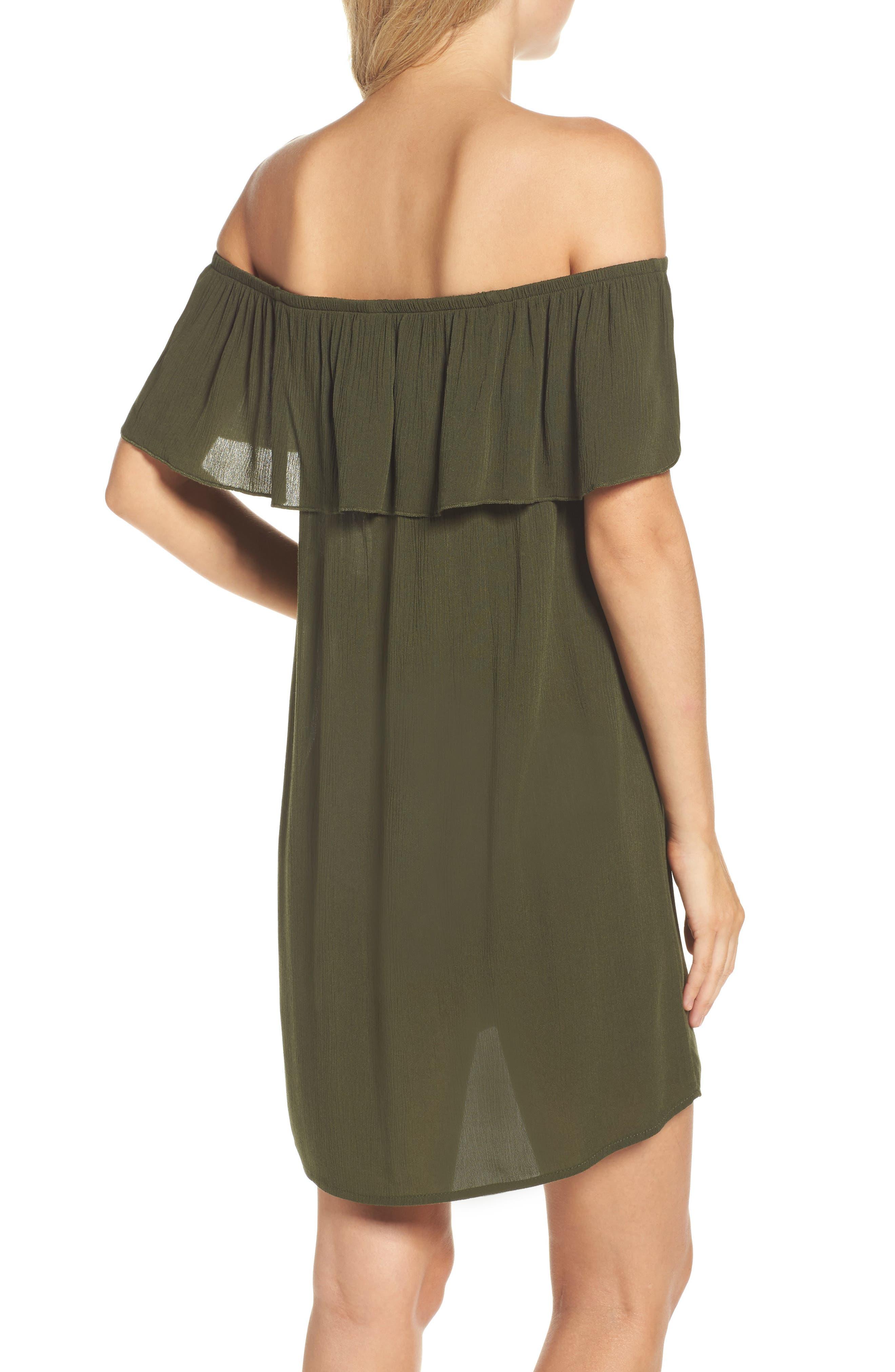 Southern Belle Off the Shoulder Cover-Up Dress,                             Alternate thumbnail 2, color,                             Bay Leaf