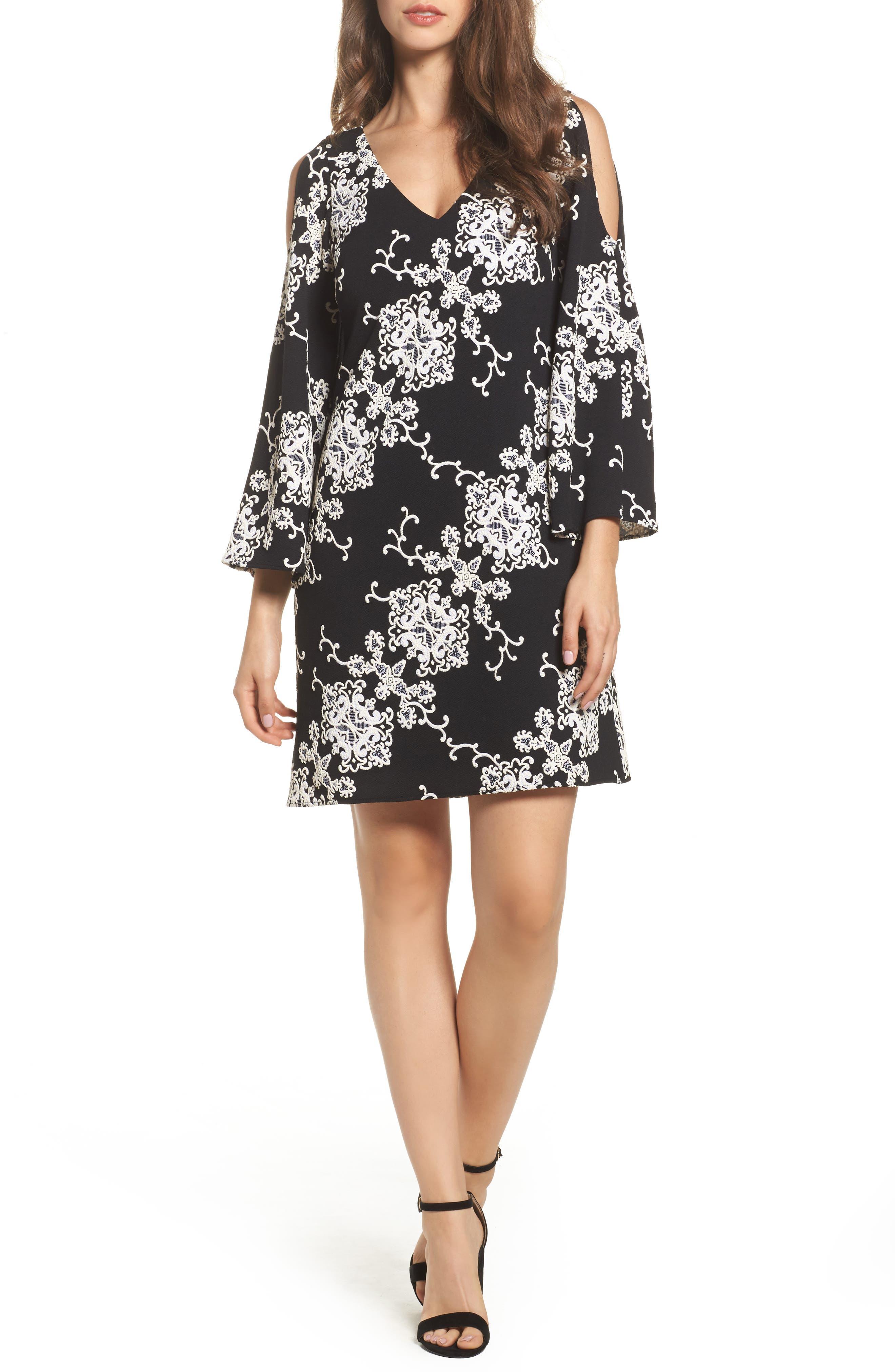 Cold Shoulder Shift Dress,                         Main,                         color, Black/ Ivory