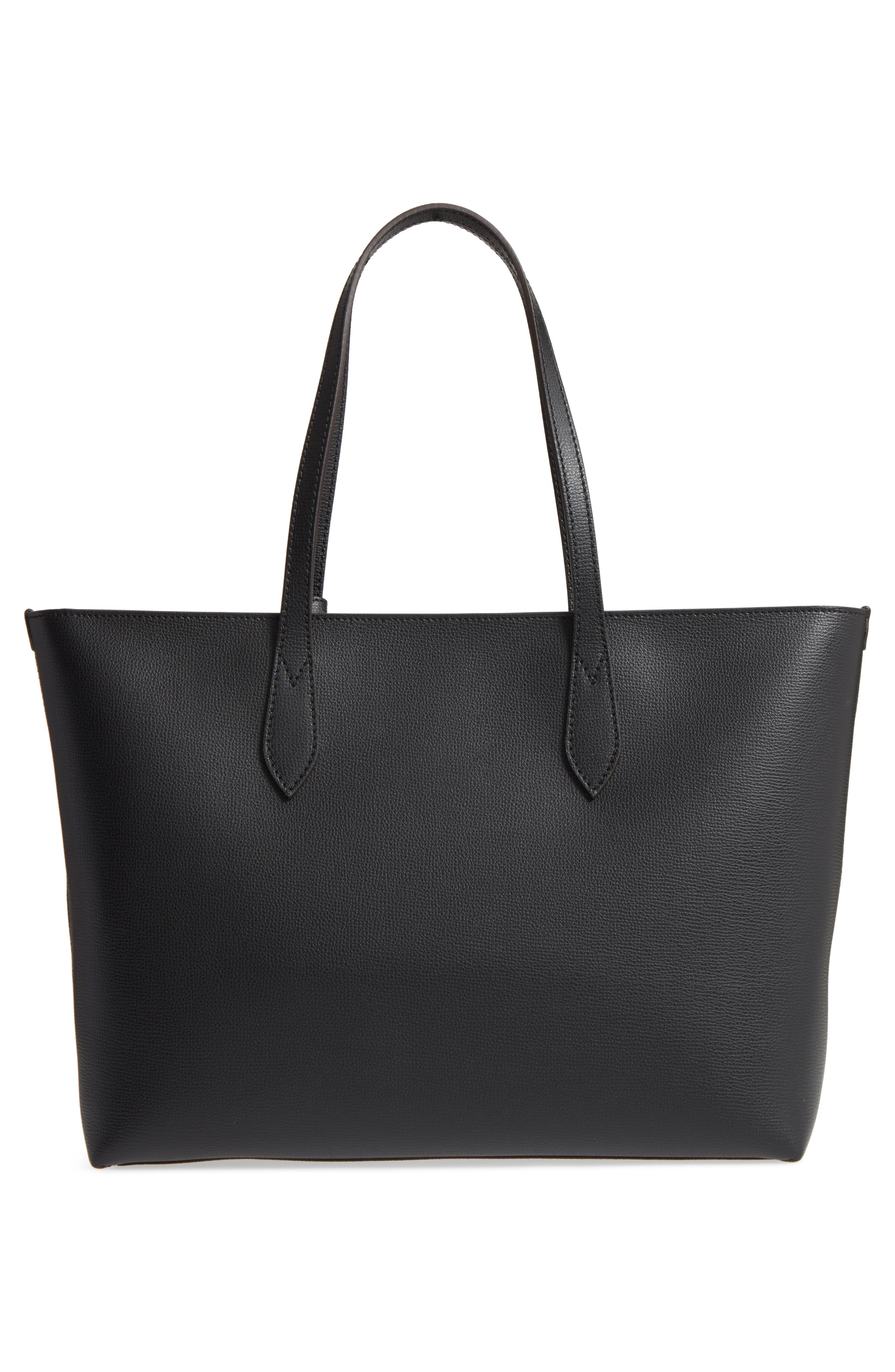 Calfskin Leather Tote,                             Alternate thumbnail 2, color,                             Black