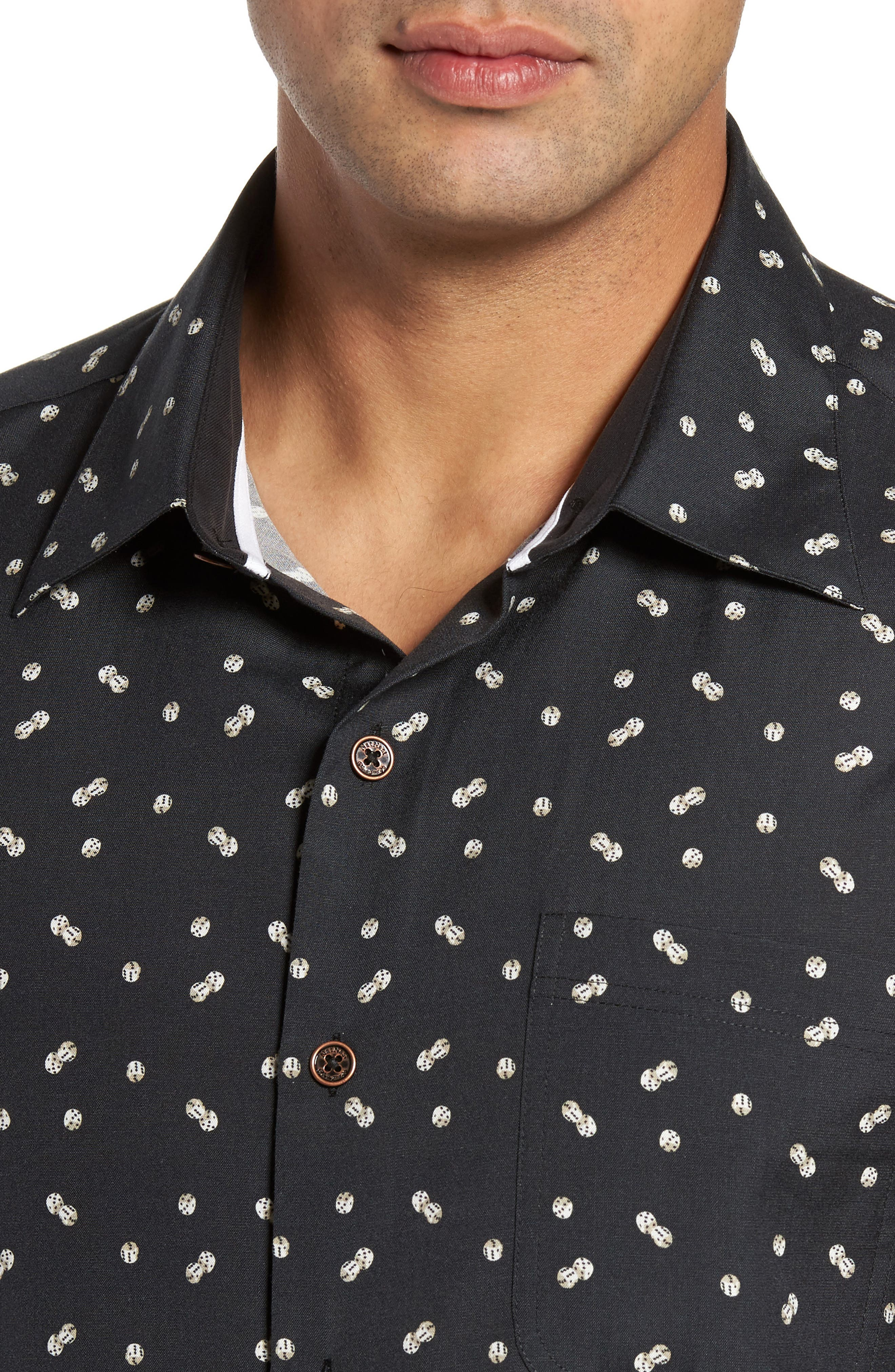 Dice Print Classic Fit Camp Shirt,                             Alternate thumbnail 4, color,                             Black