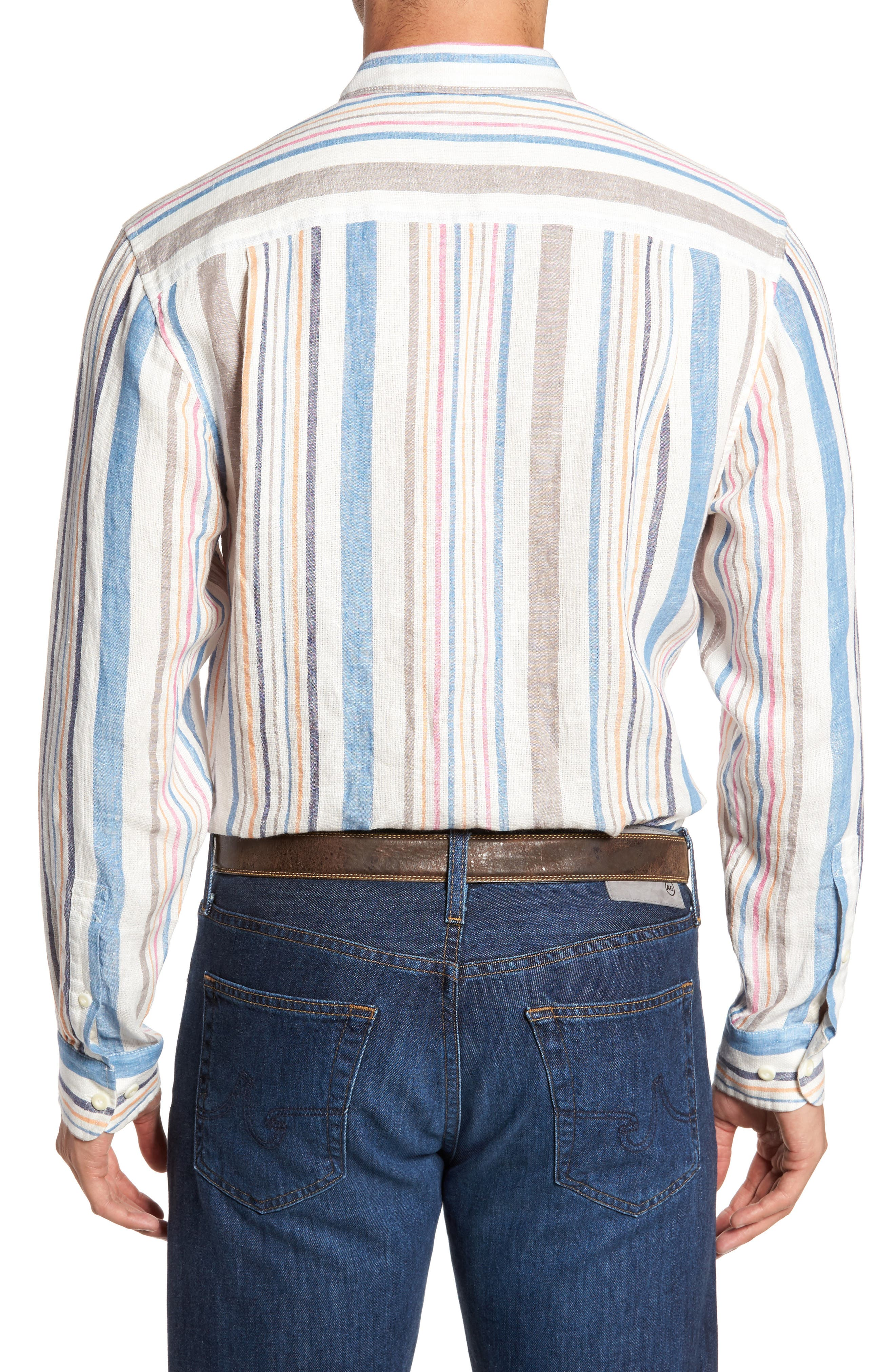 Raffia Stripe Linen Sport Shirt,                             Alternate thumbnail 2, color,                             Kingdom Blue