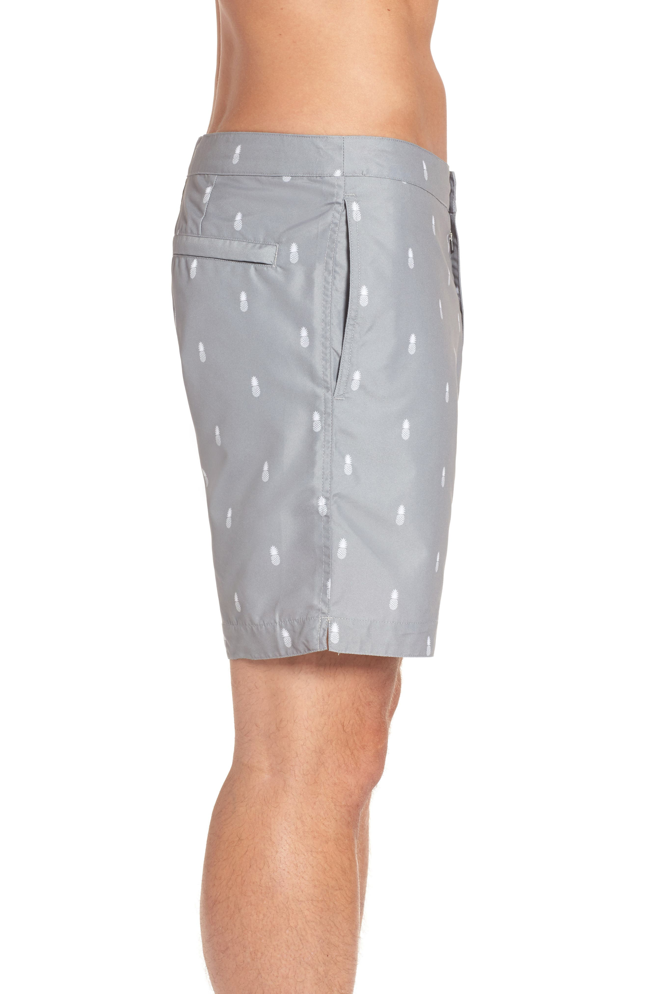 Aruba Tailored Fit Swim Trunks,                             Alternate thumbnail 3, color,                             Grey Pineapple Print