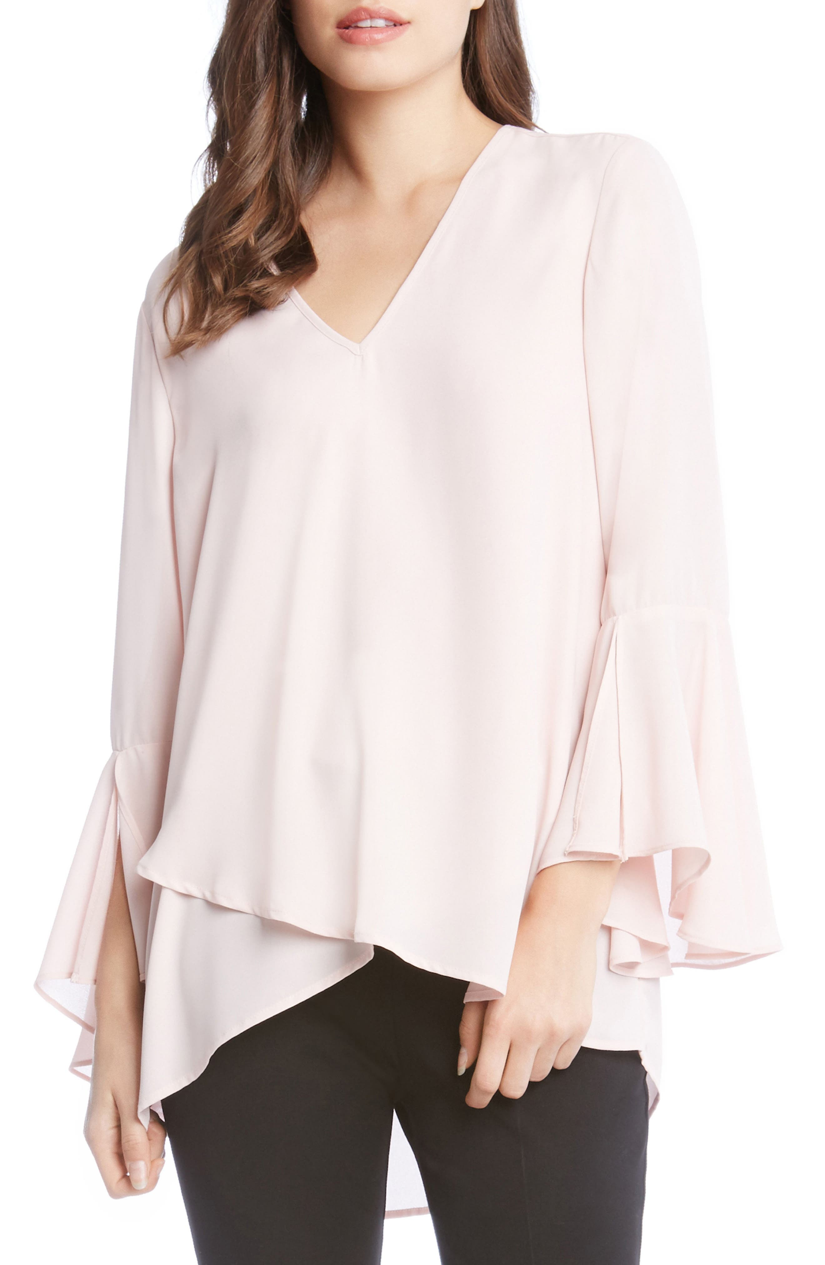 Slit Sleeve High/Low Top,                         Main,                         color, Blush