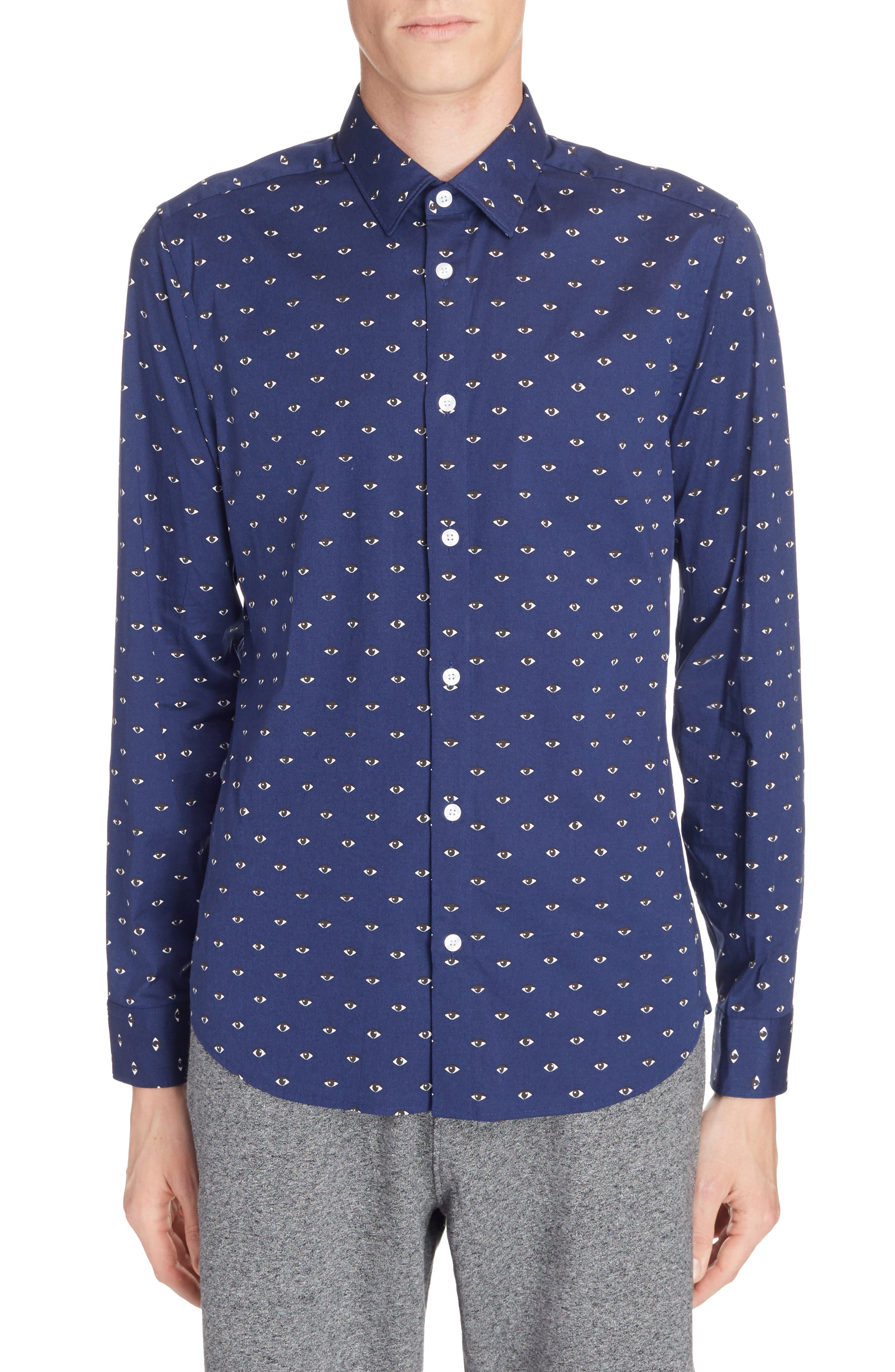Allover Eye Print Woven Shirt,                             Main thumbnail 1, color,                             Navy Blue