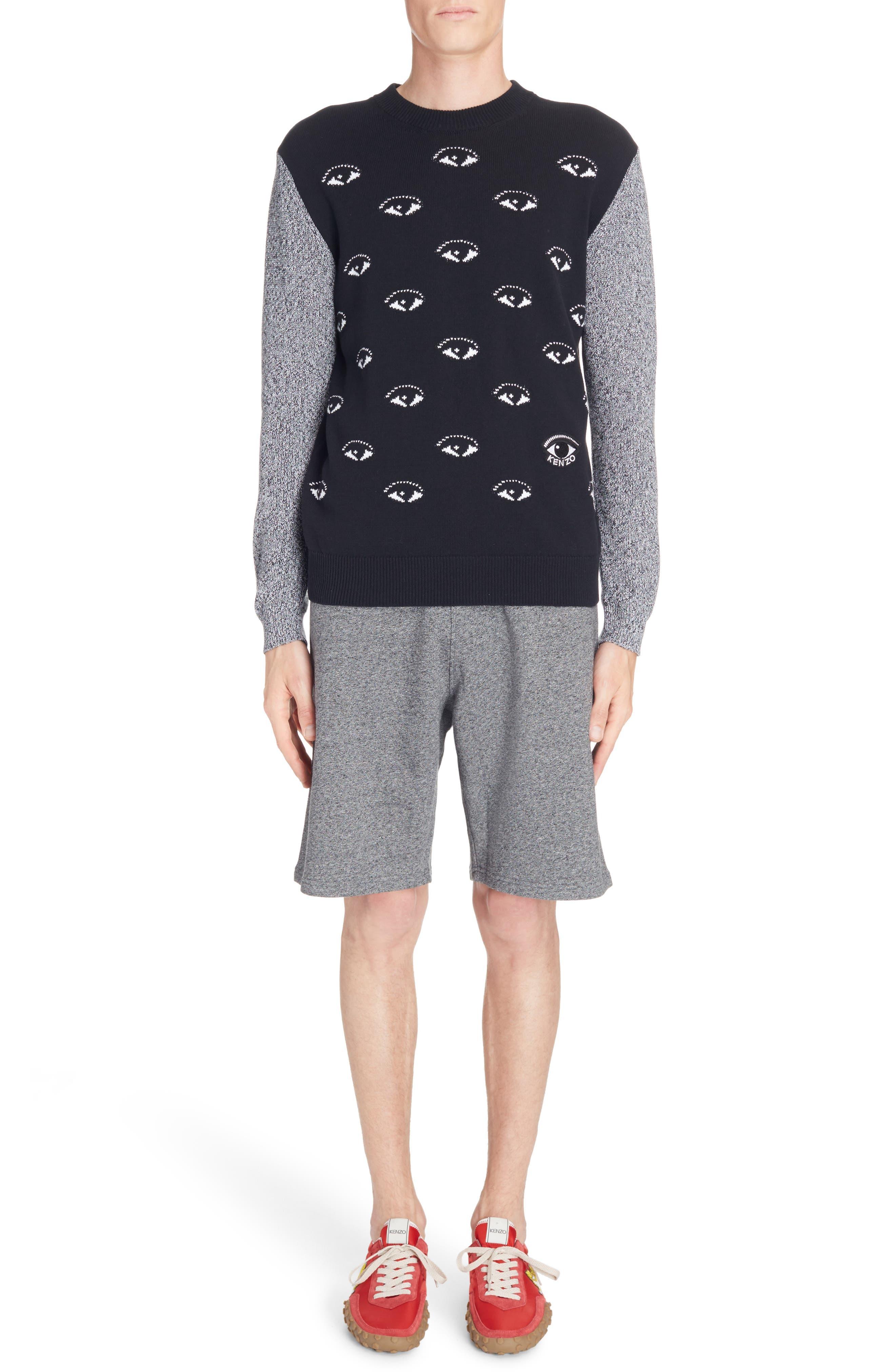All Eyes Print Crewneck Sweater,                         Main,                         color, Black