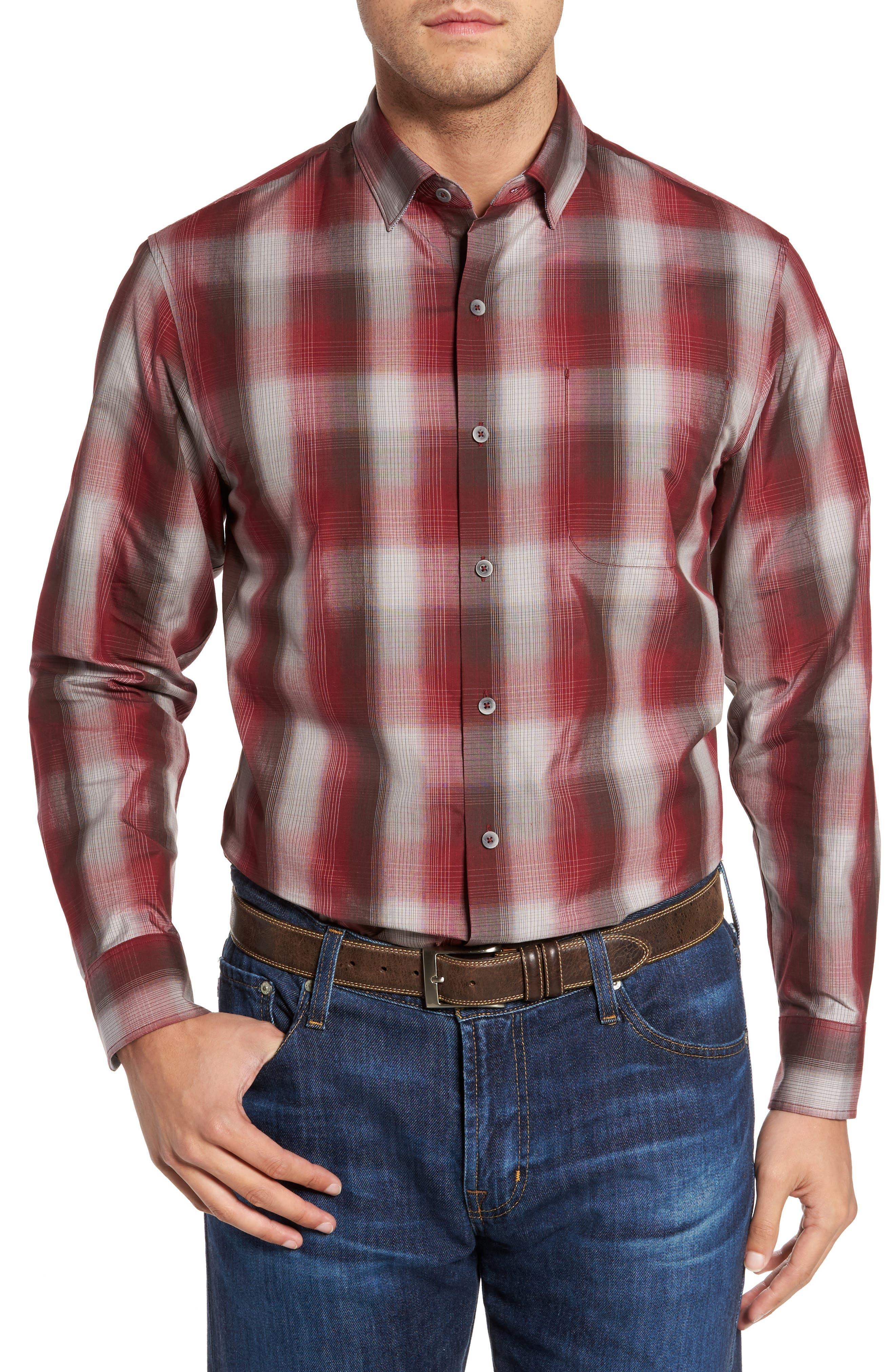 Azilal Ombré Plaid Sport Shirt,                         Main,                         color, Ruby Wine