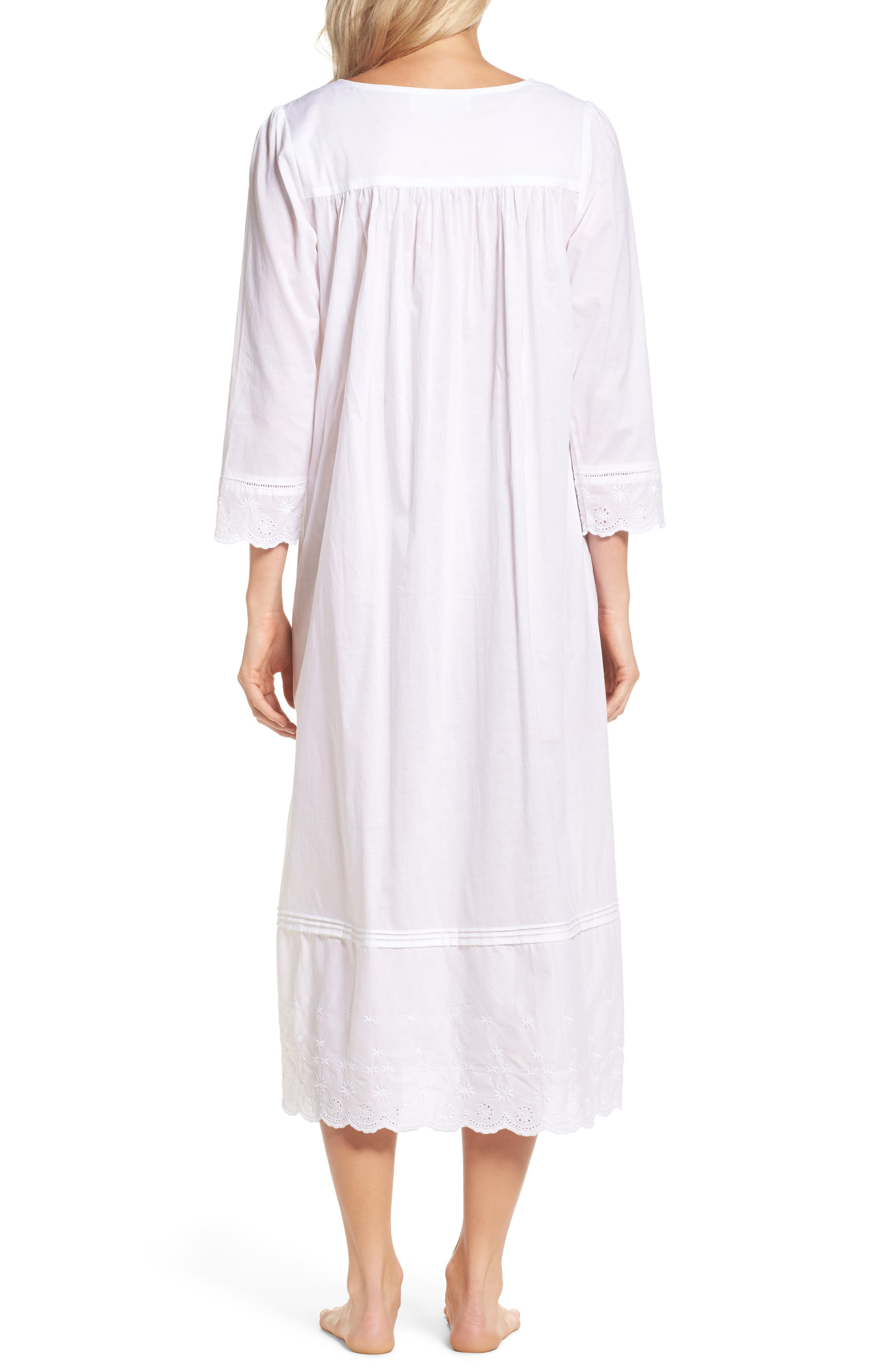 Eyelet Nightgown,                             Alternate thumbnail 2, color,                             White Floral