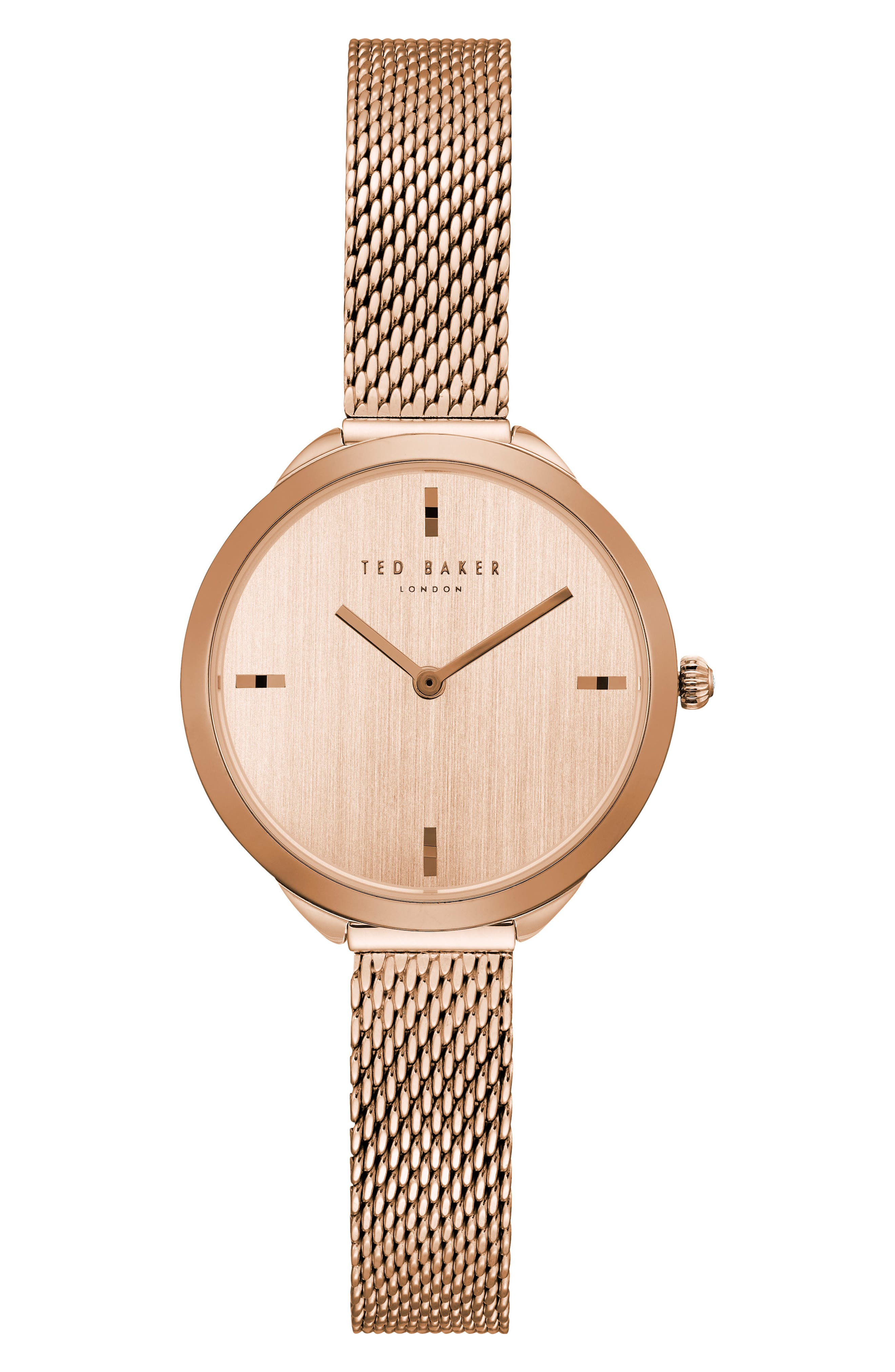 Elana Mesh Strap Watch, 30mm,                         Main,                         color, Rose Gold