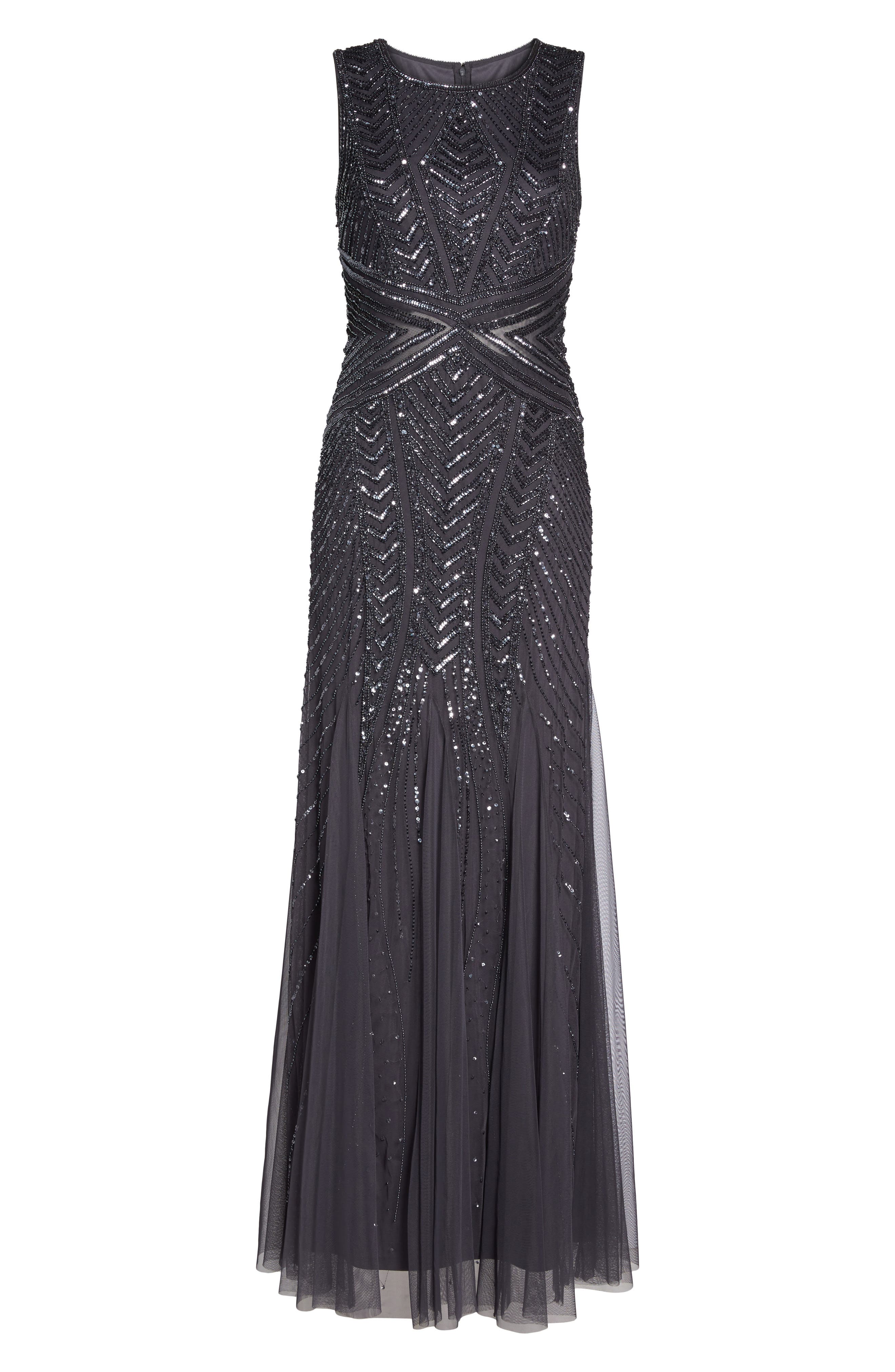 Alternate Image 6  - Adrianna Papell Beaded Sleeveless Gown (Regular & Petite)