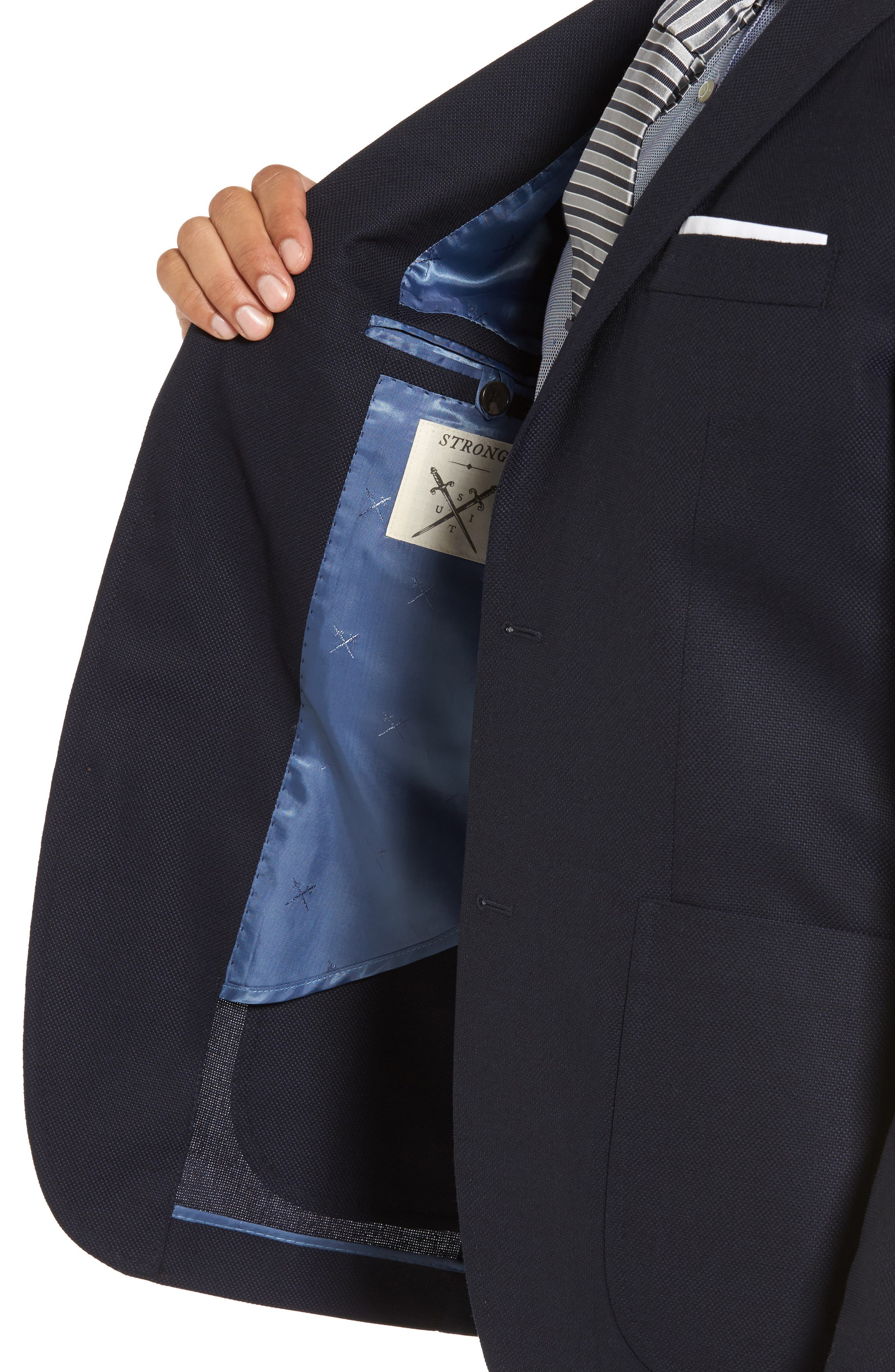 Vantage Trim Fit Wool Blazer,                             Alternate thumbnail 4, color,                             Navy Hopsack