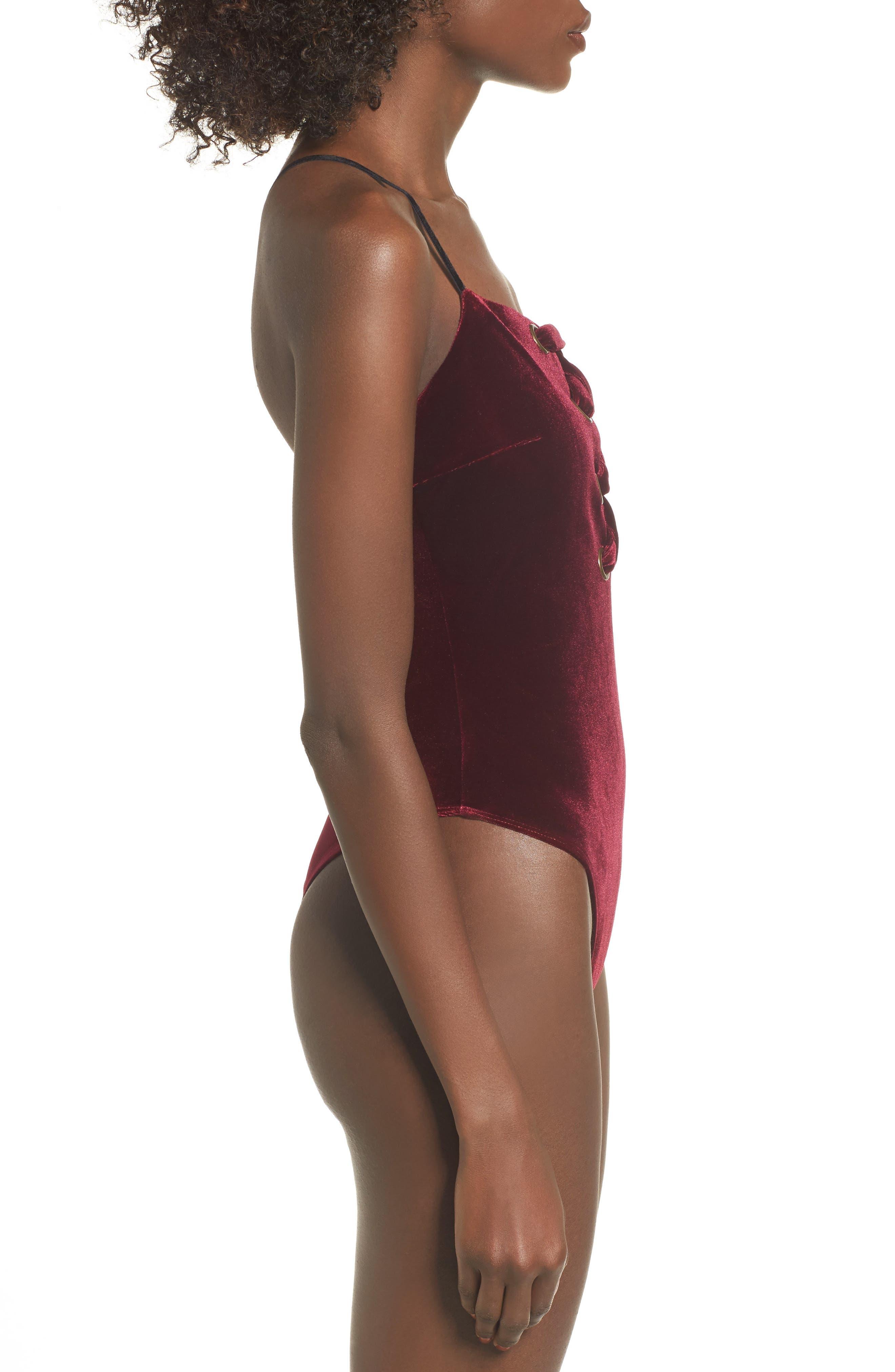 Lace Up Velvet Bodysuit,                             Alternate thumbnail 4, color,                             Burgundy
