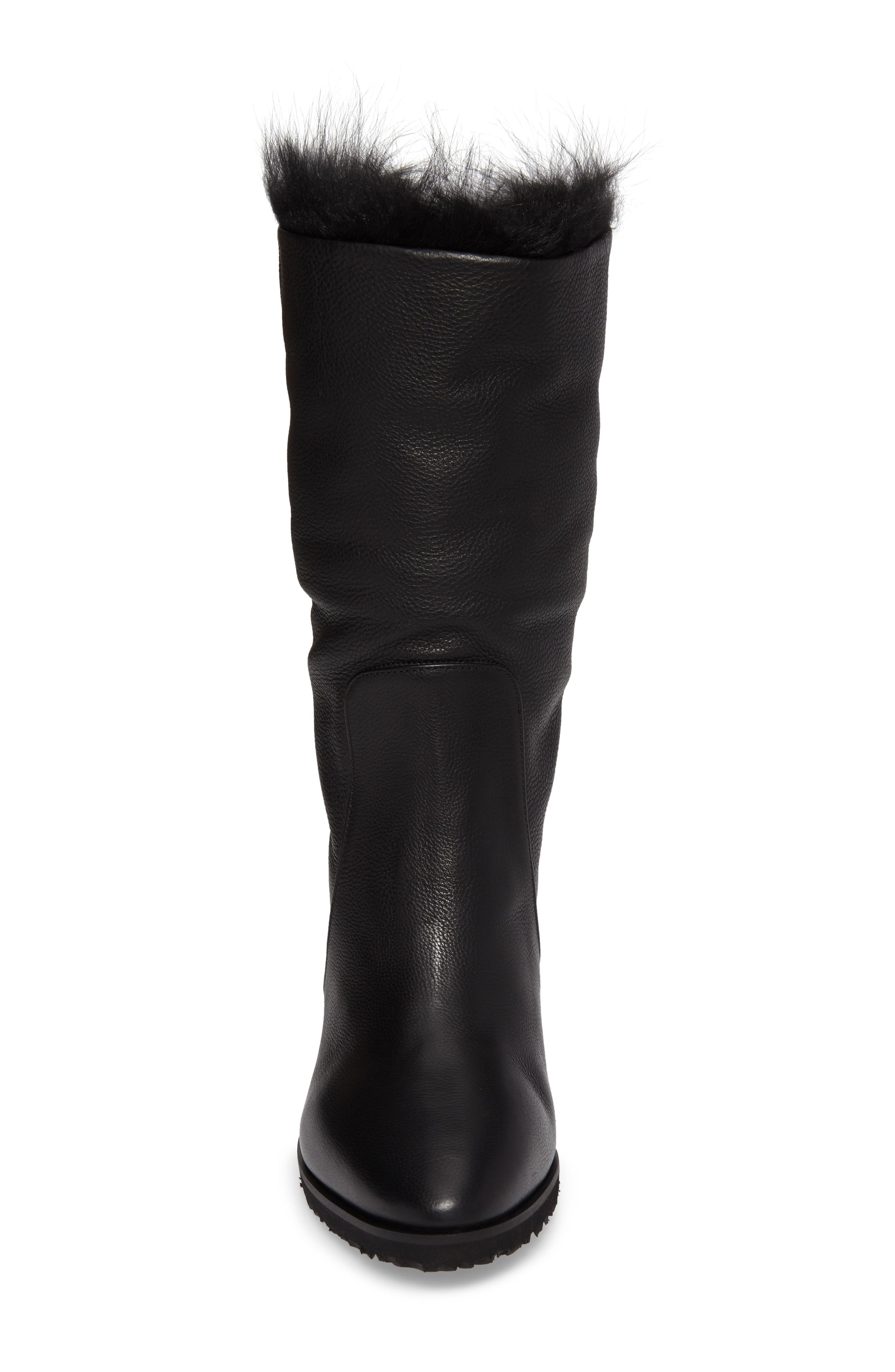 Massima Genuine Shearling Wedge Boot,                             Alternate thumbnail 4, color,                             Black Leather
