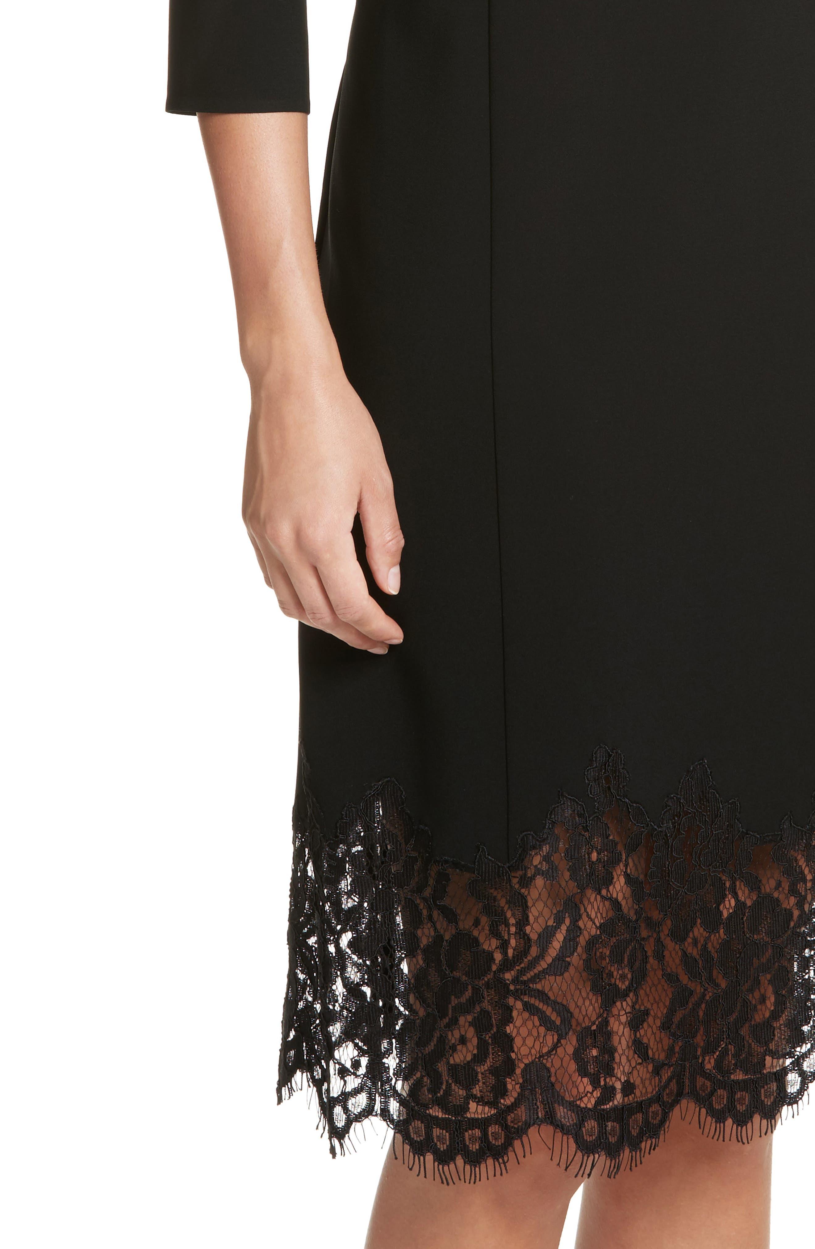 Mya Lace Hem Dress,                             Alternate thumbnail 6, color,                             Black