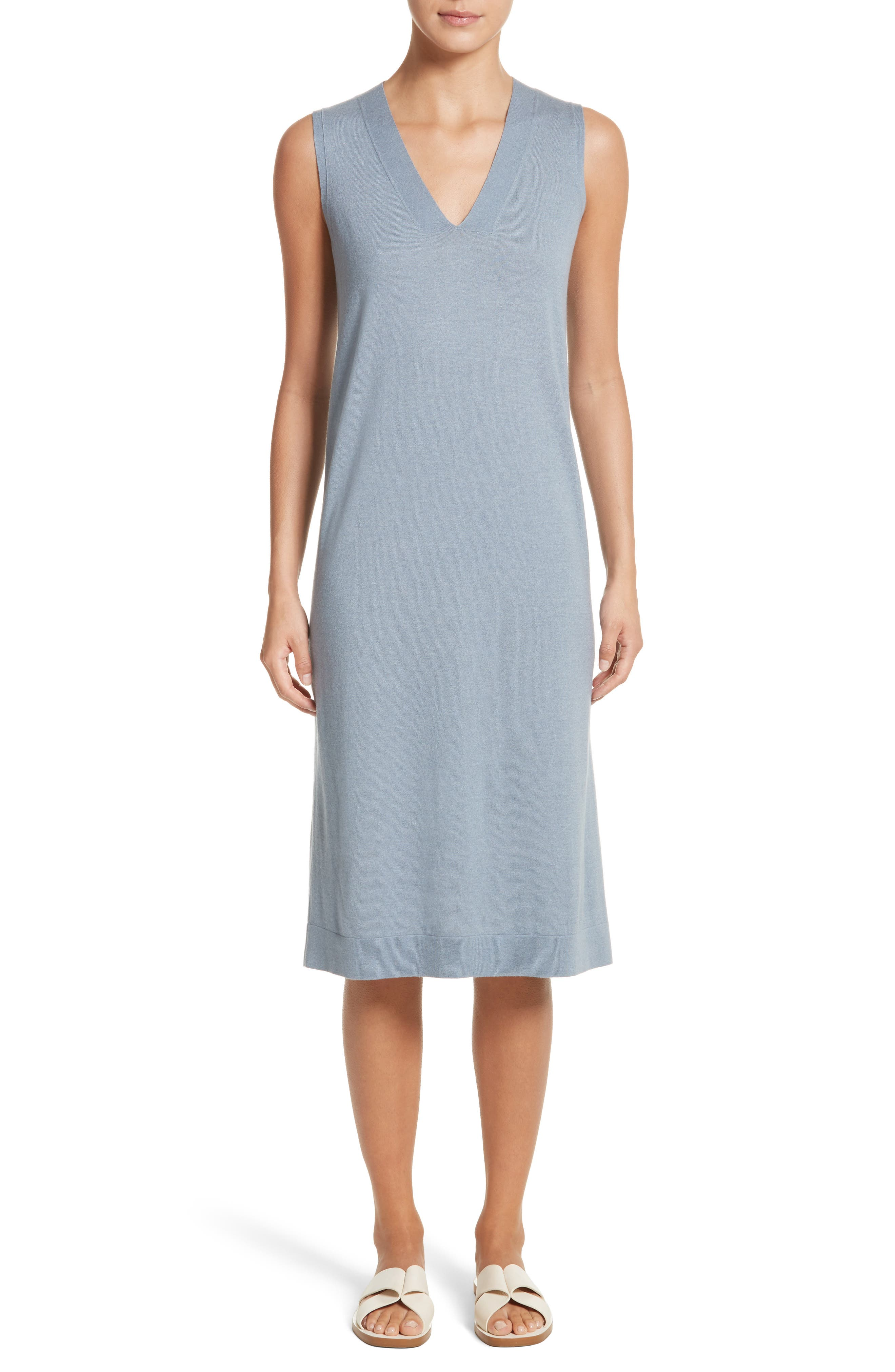 V-Neck Cashmere & Silk Knit Dress,                         Main,                         color, Slate Blue