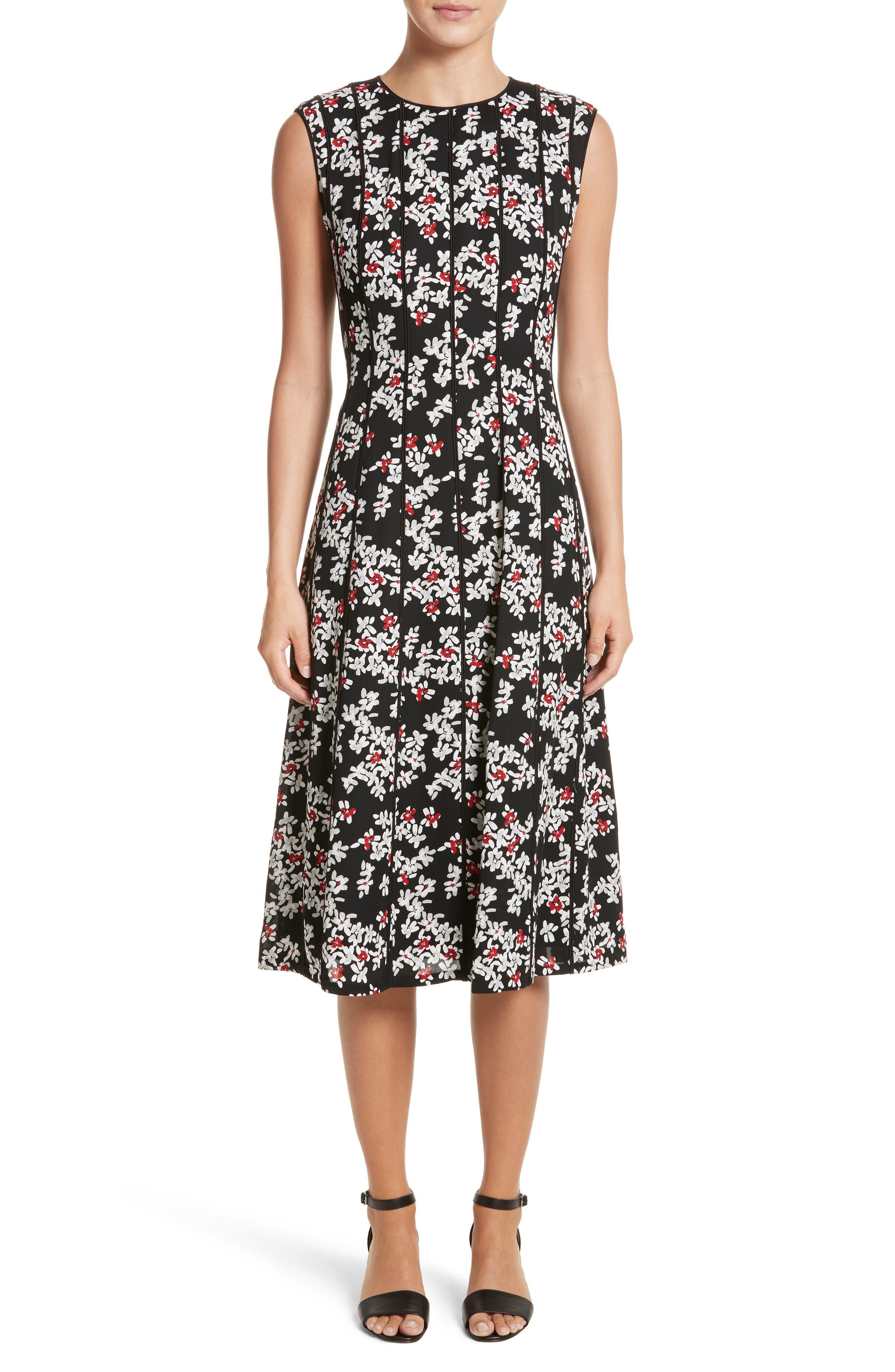 Lafayette 148 New York Marley Fresh Floral Drape Cloth Dress