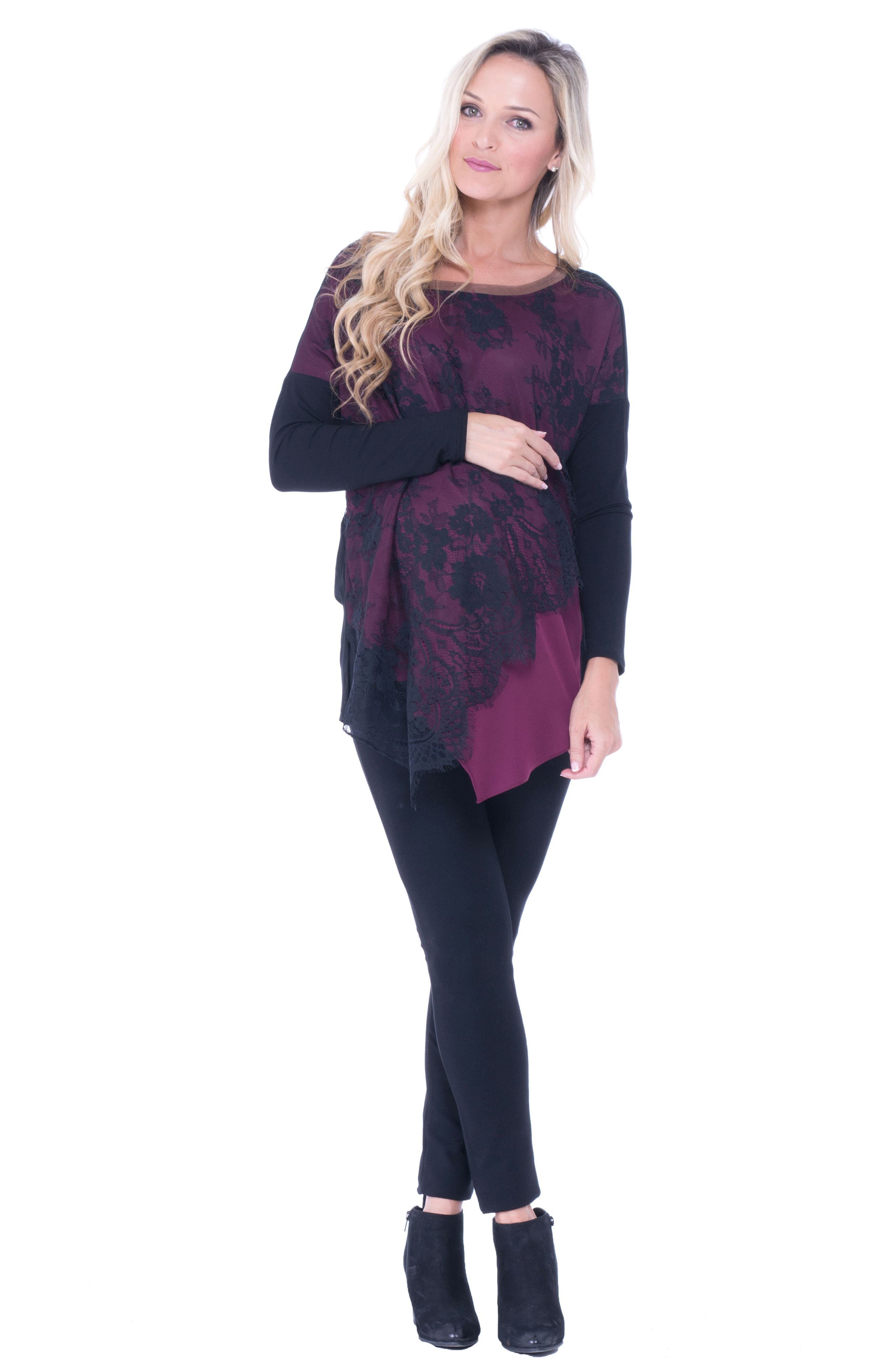 Bernadine Lace Overlay Maternity Top,                             Alternate thumbnail 2, color,                             Burgundy