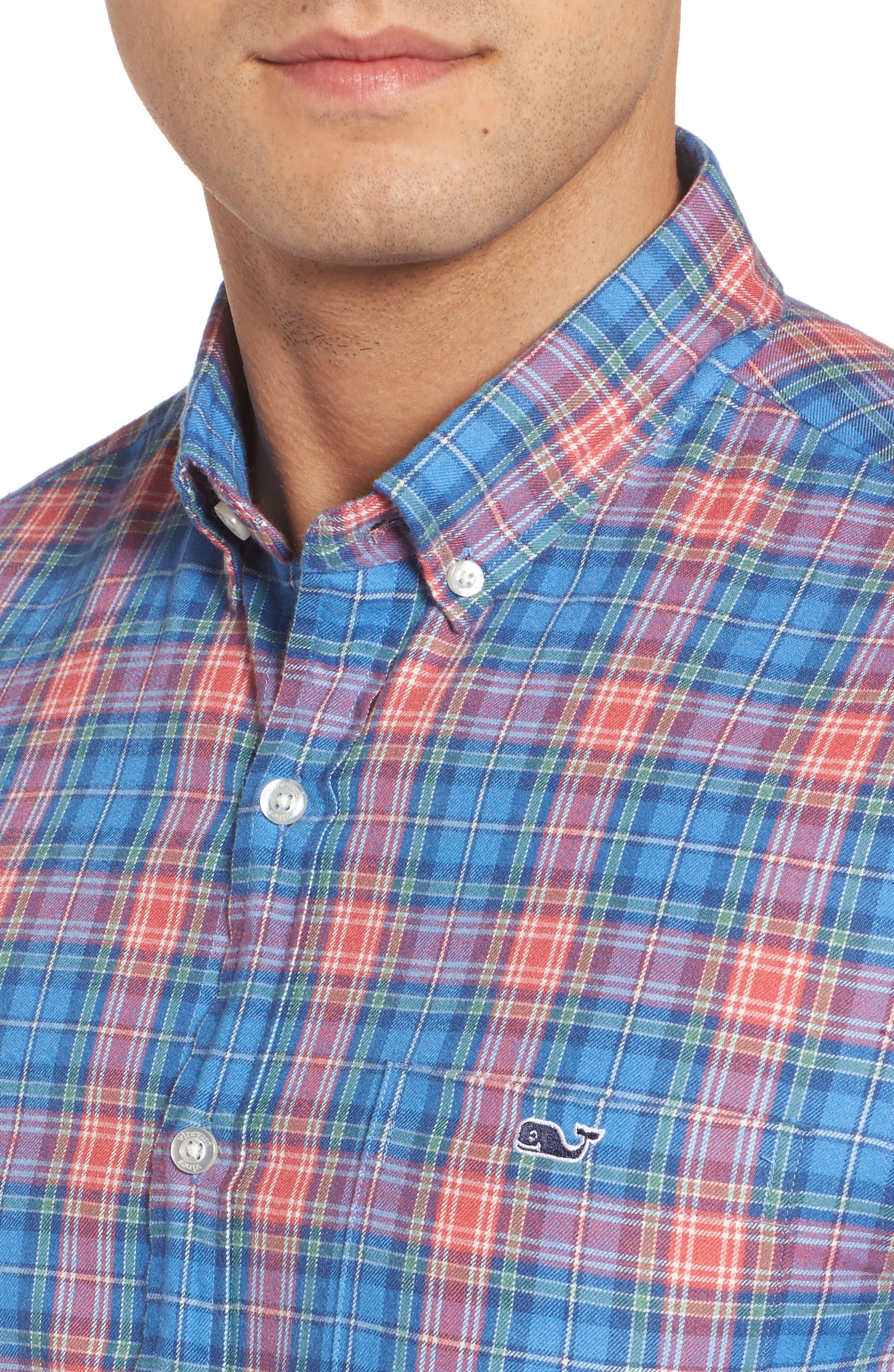 Kingsley Park Slim Fit Plaid Sport Shirt,                             Alternate thumbnail 4, color,                             Bimini Blue