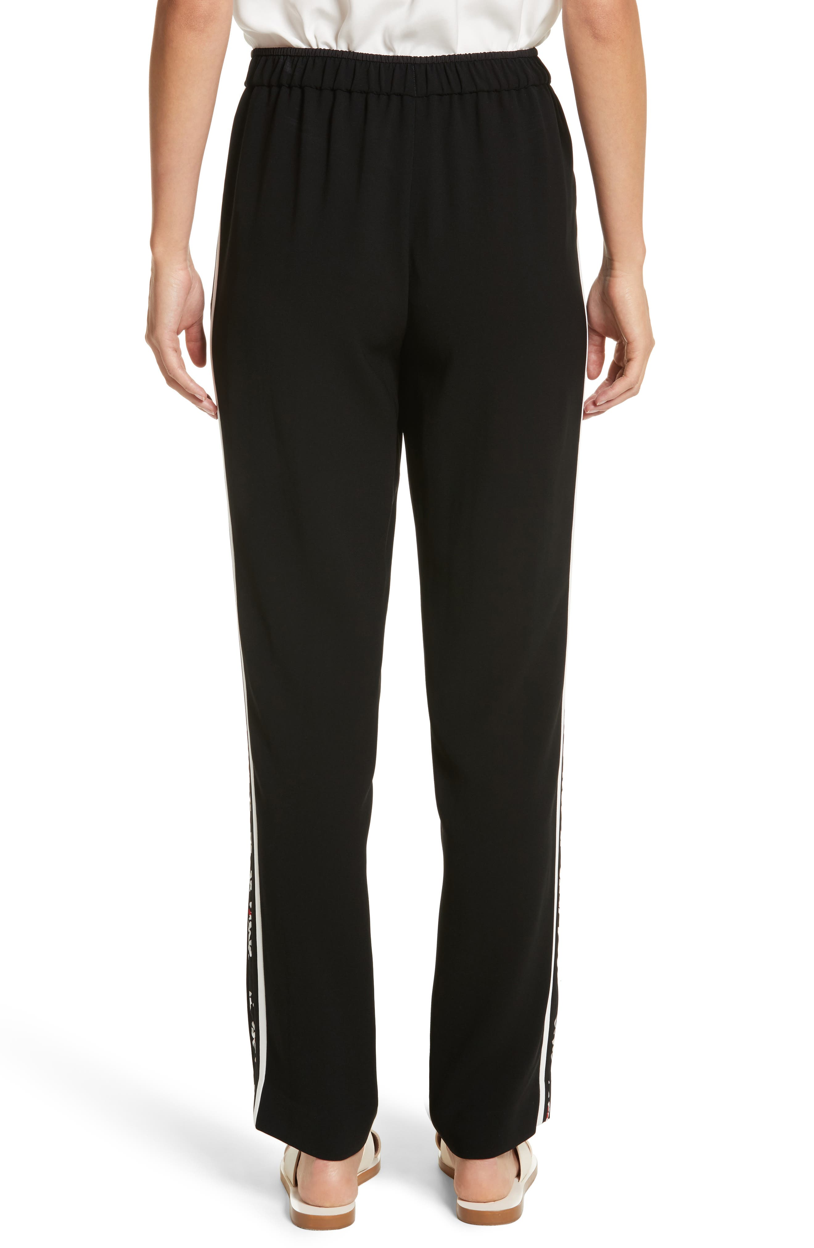 Floral Stripe Track Pants,                             Alternate thumbnail 3, color,                             Black