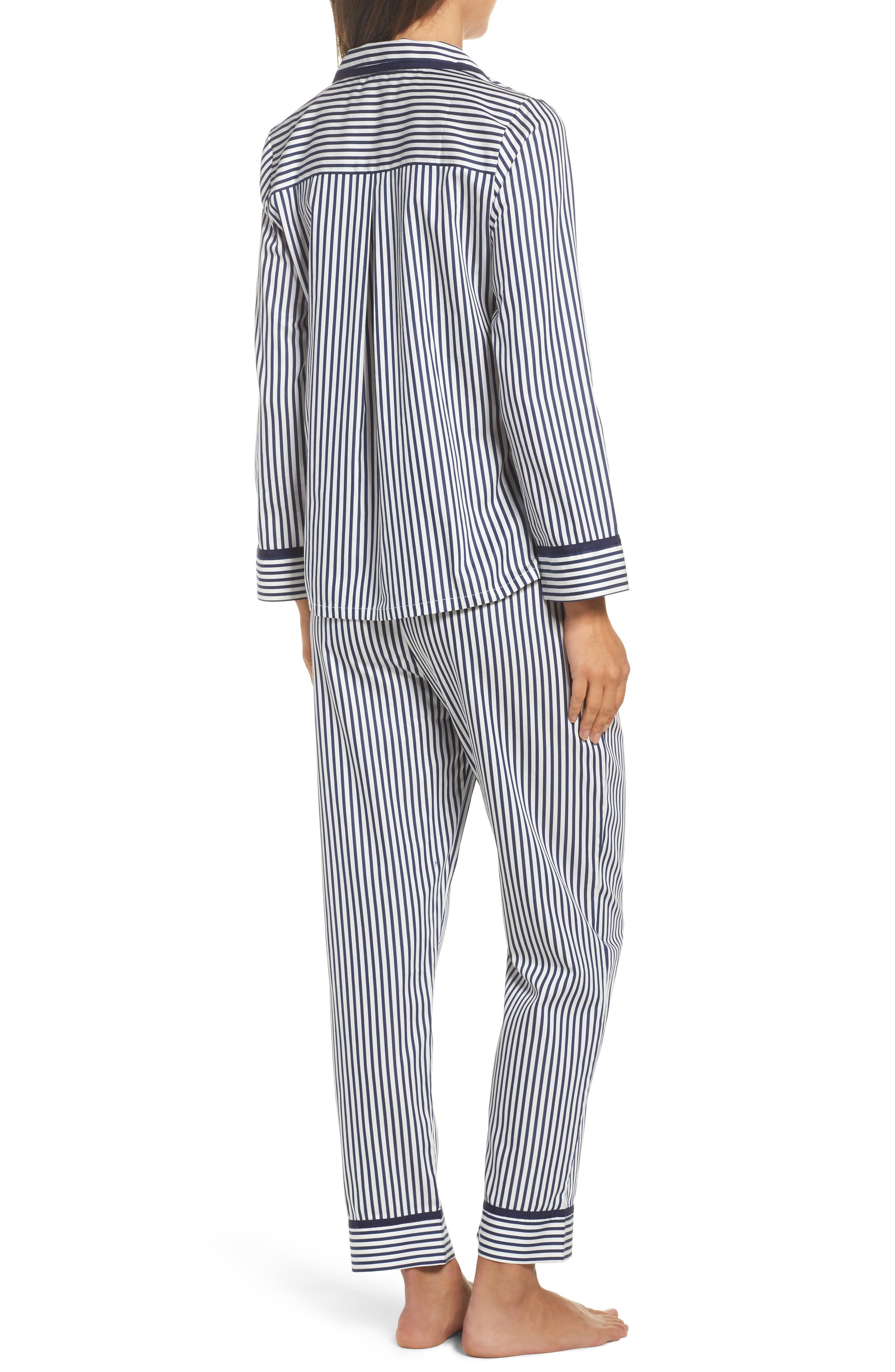 stripe pajamas,                             Alternate thumbnail 2, color,                             Navy Stripe