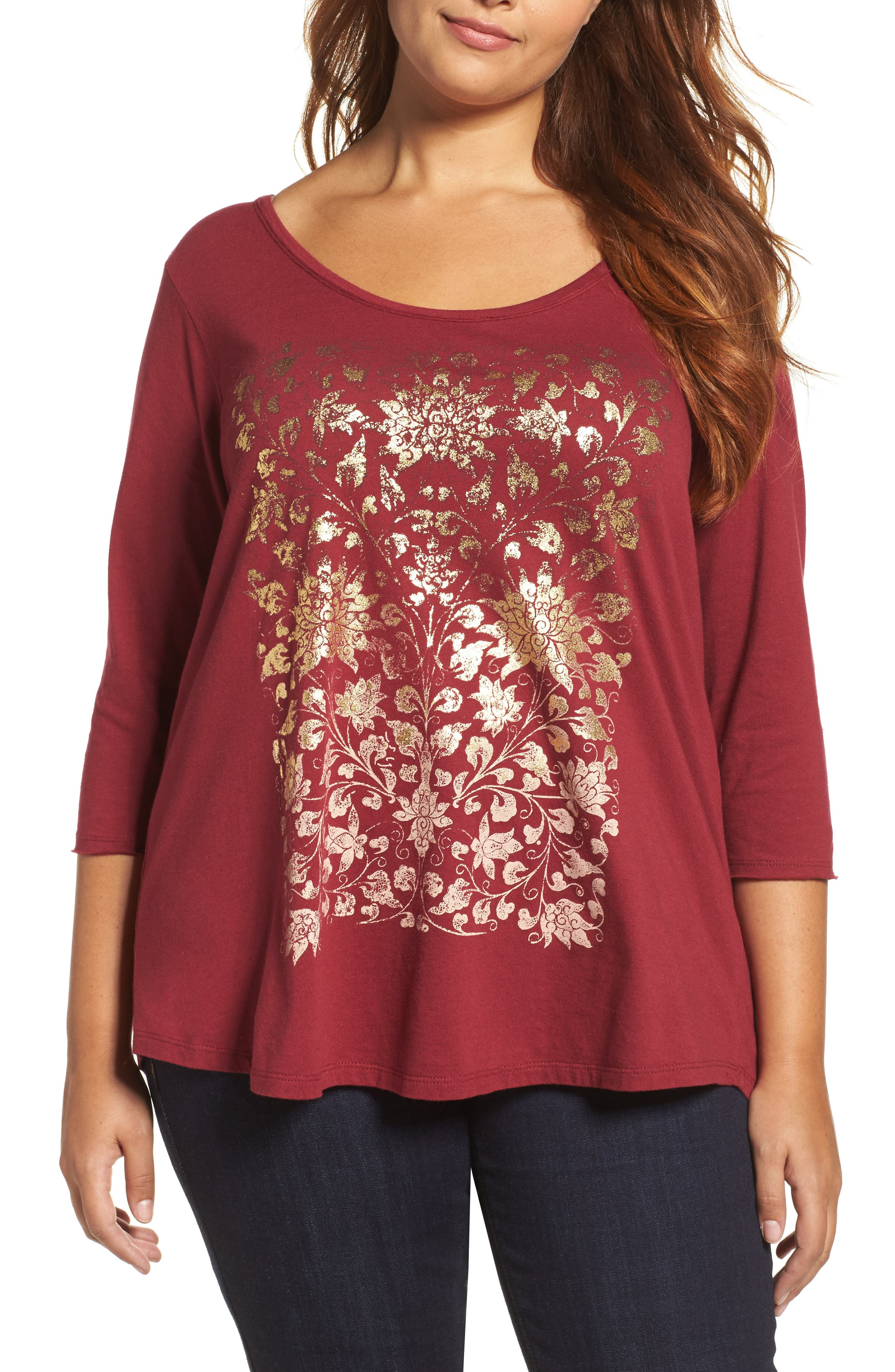 Lucky Brand Floral Foil Print Tee (Plus Size)
