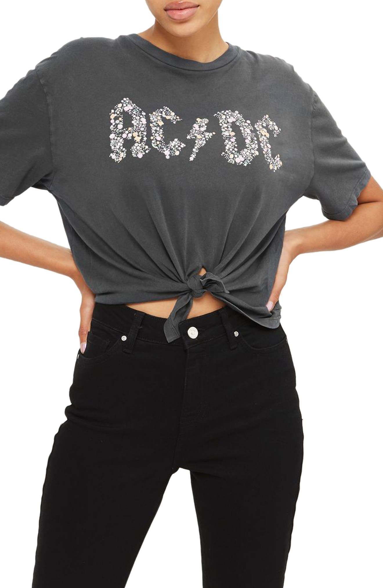 Main Image - Topshop by And Finally Knot Crop AC/DC Tee