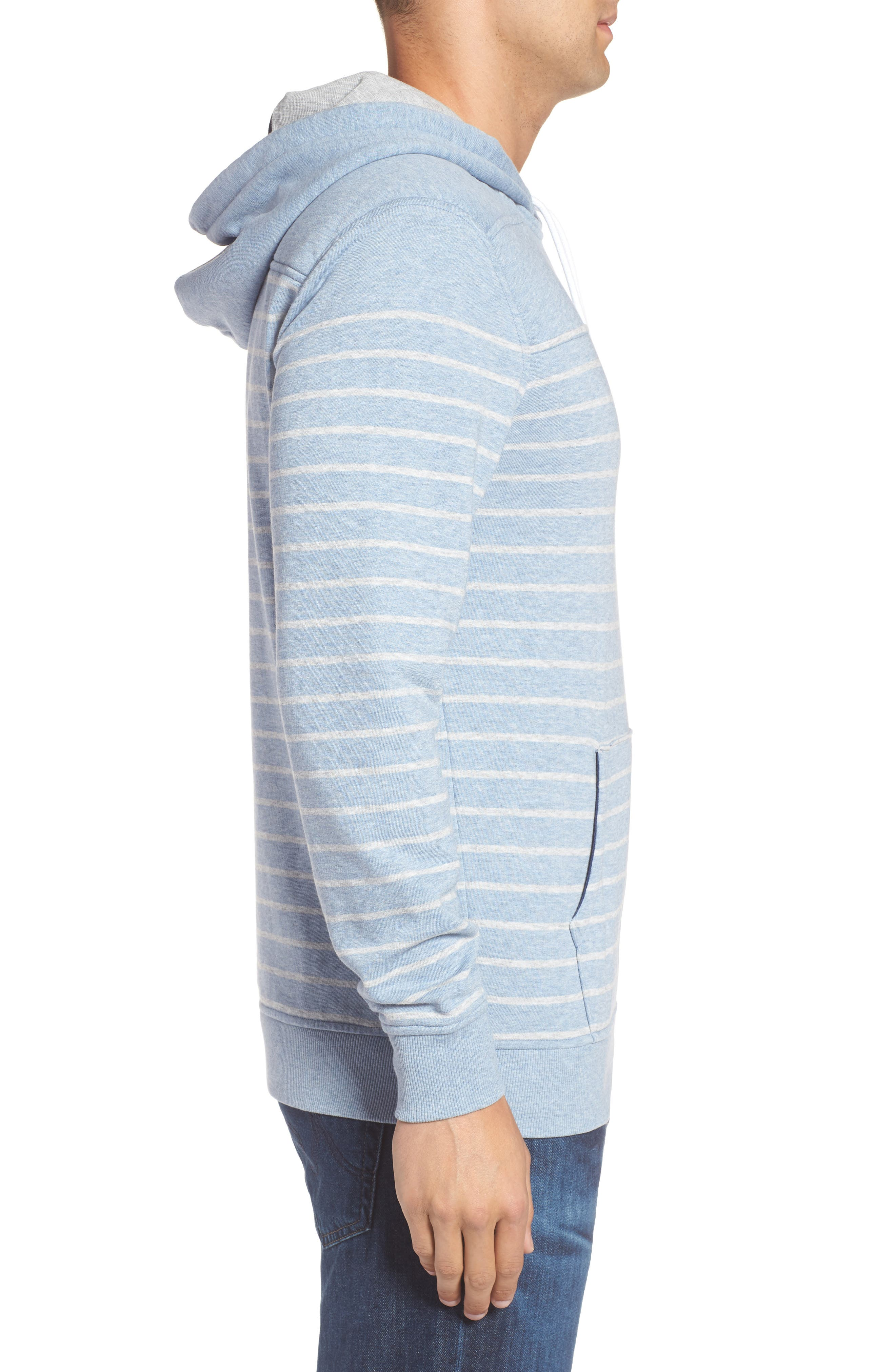 Stripe Washed Cotton Pullover Hoodie,                             Alternate thumbnail 3, color,                             Summer Evening
