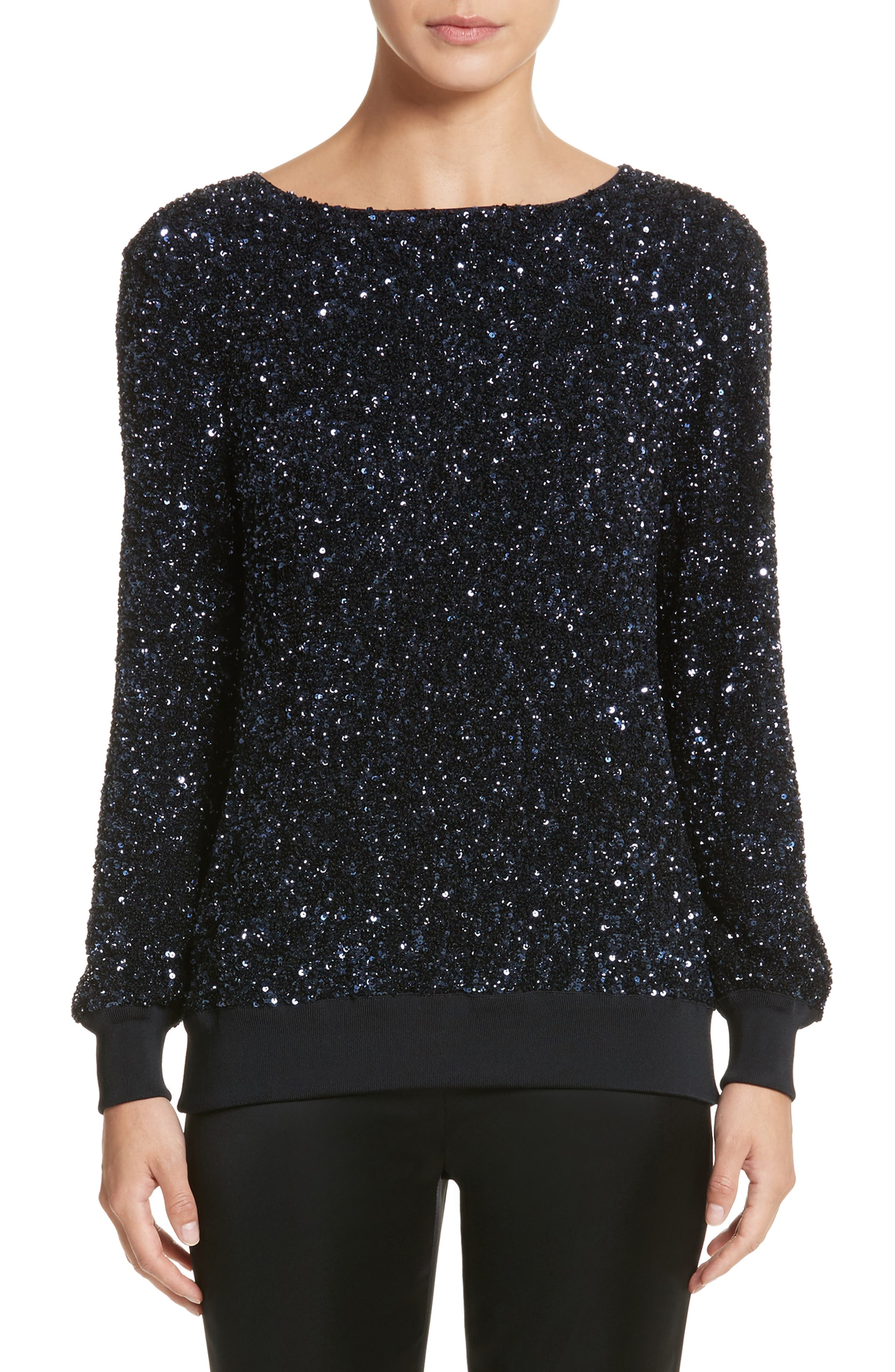 Nessa Sequin Blouse,                         Main,                         color, Ink