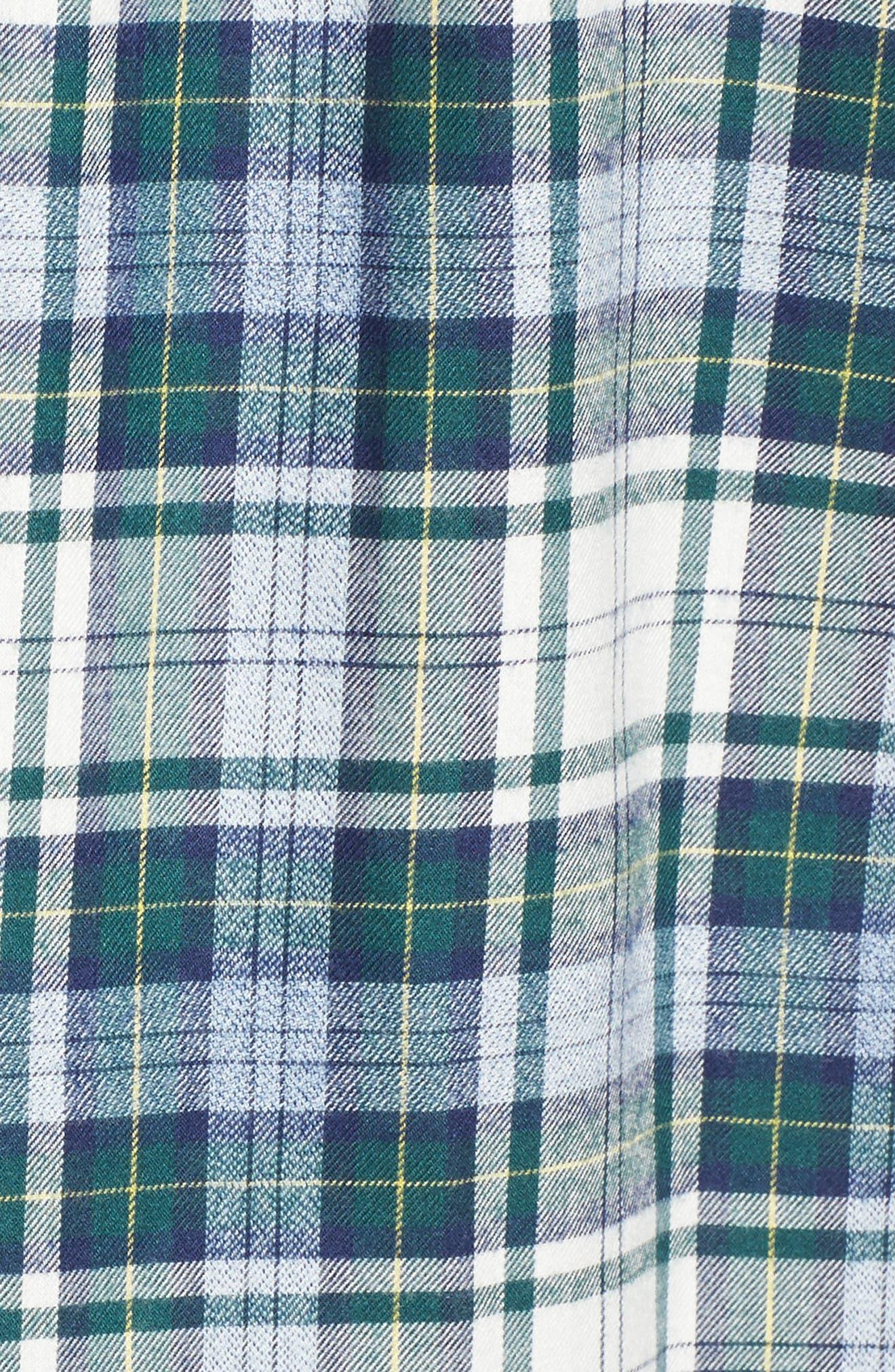 Tucker Hayward Point Slim Fit Plaid Sport Shirt,                             Alternate thumbnail 5, color,                             Charleston Green