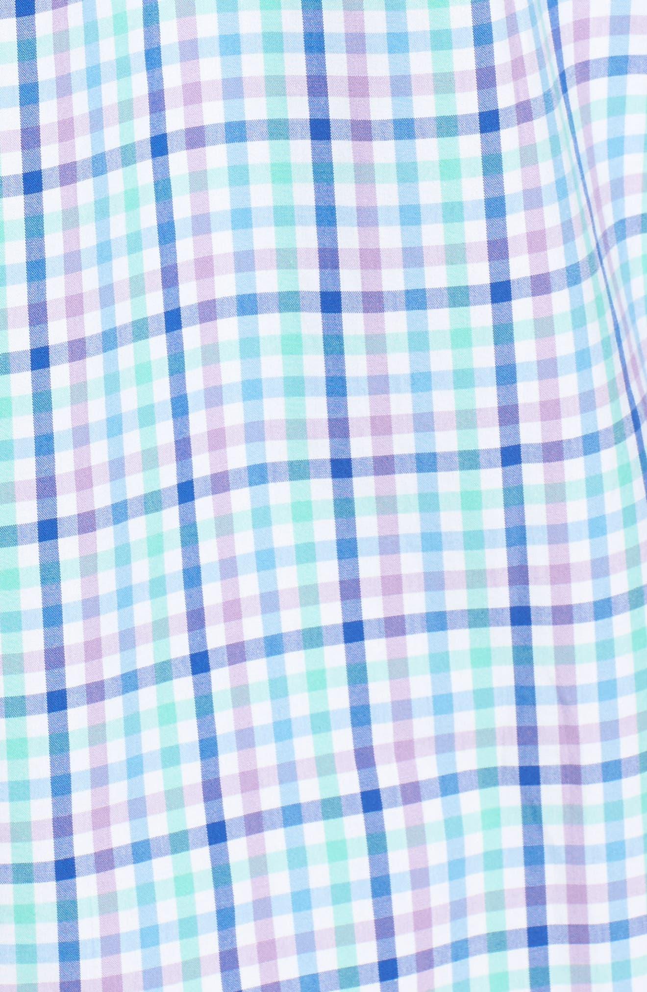 Tucker Gaspar Classic Fit Gingham Sport Shirt,                             Alternate thumbnail 5, color,                             Antigua Green