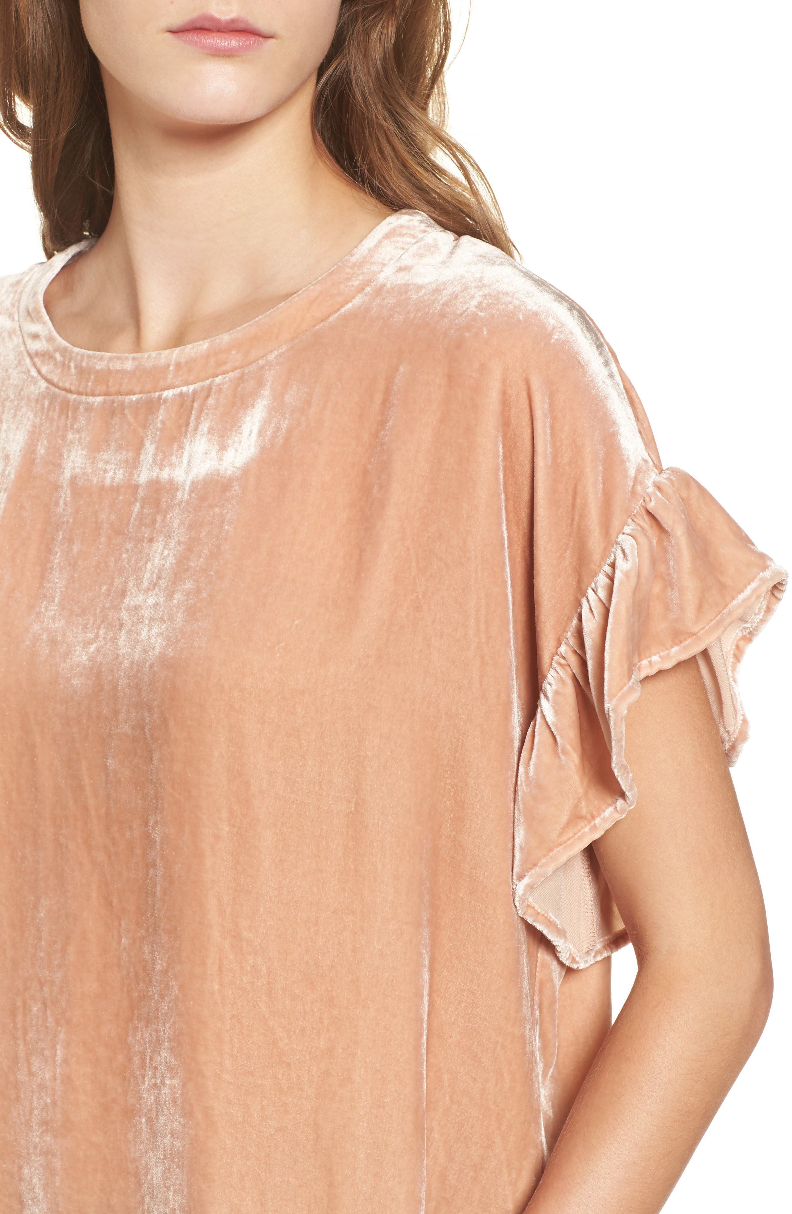 The Janie Velvet Top,                             Alternate thumbnail 4, color,                             Muted Misty Rose
