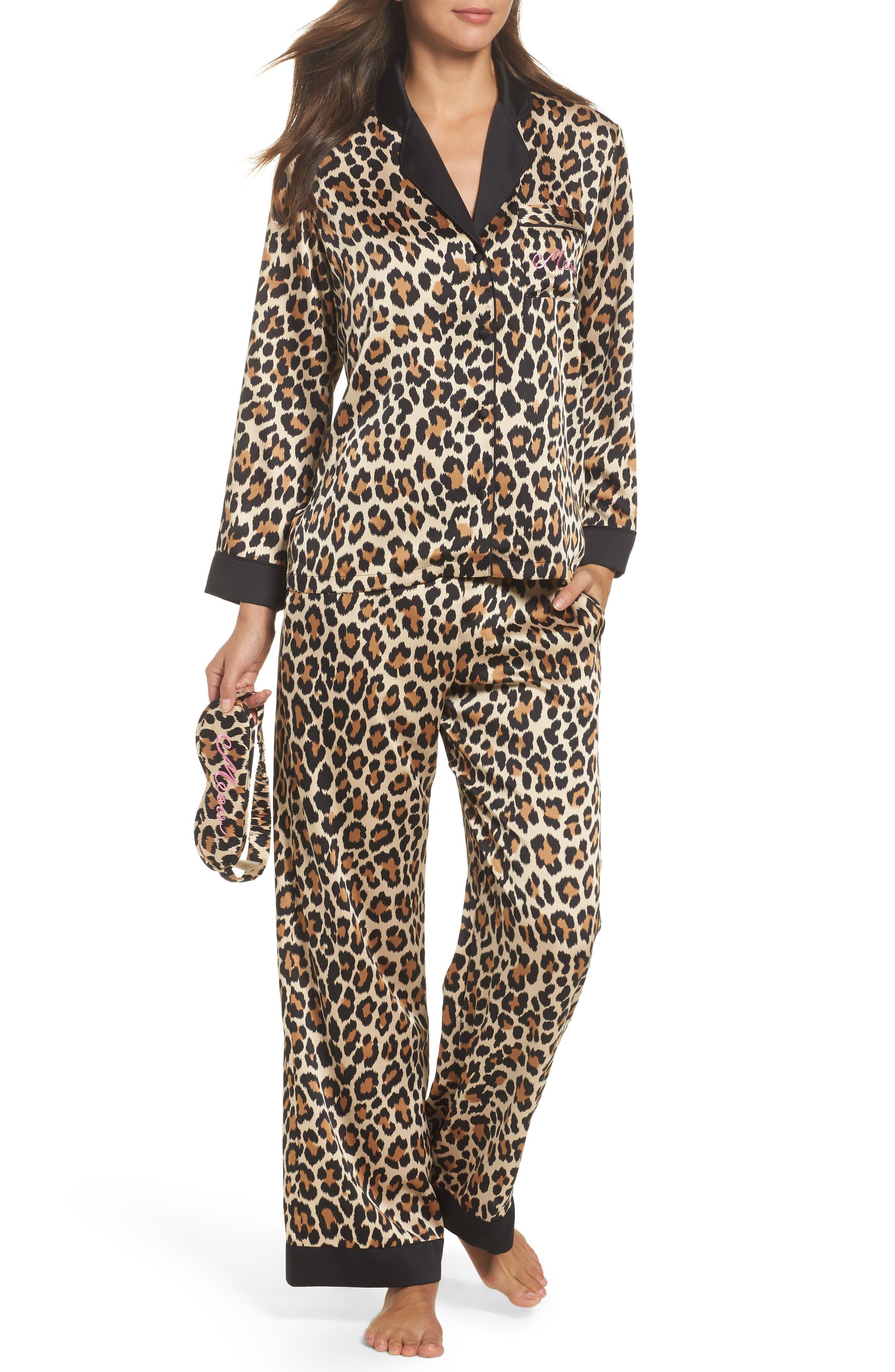 kate spade new york leopard print charmeuse pajamas & sleep mask