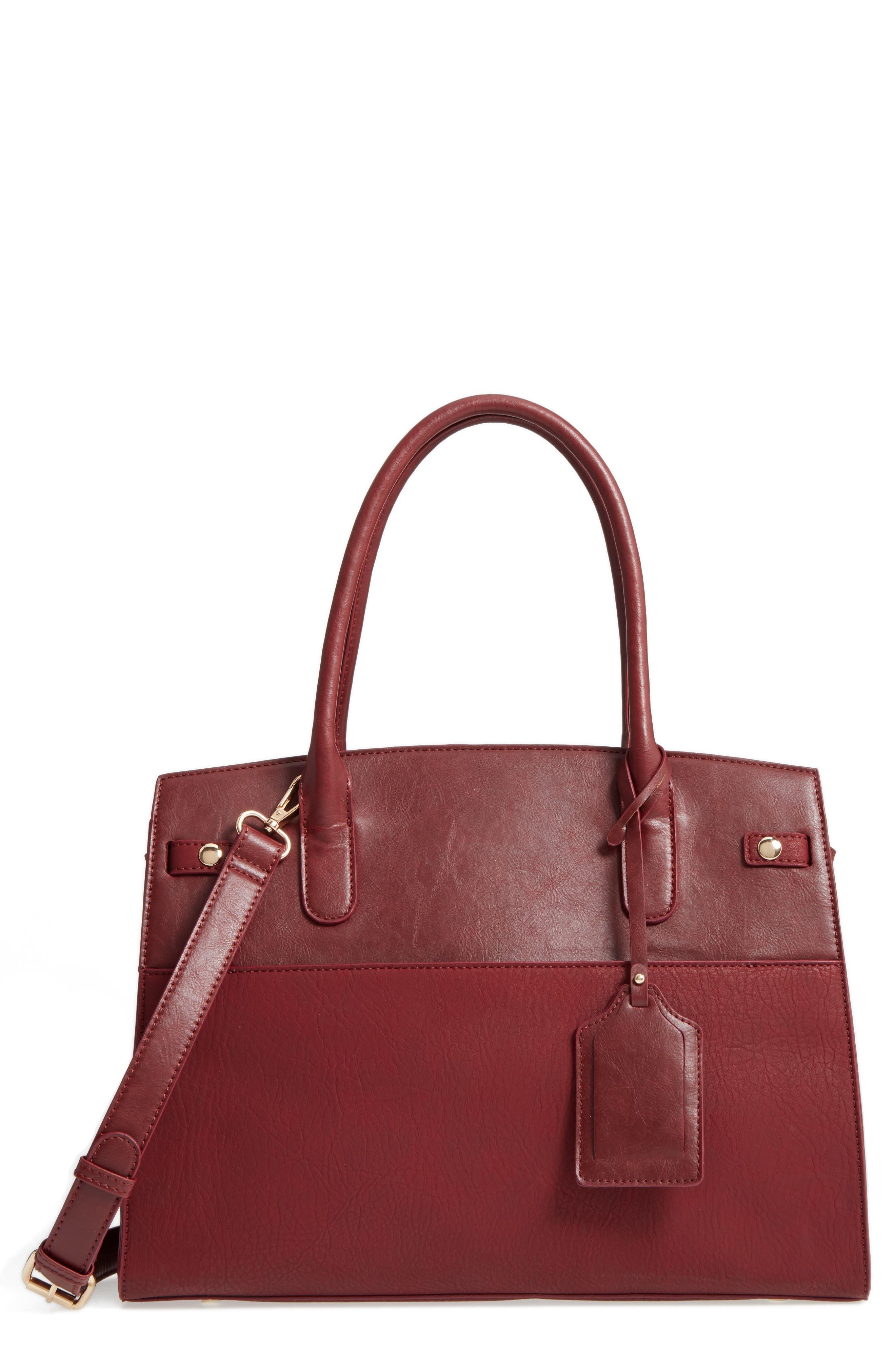 Ladylike Faux Leather Satchel,                         Main,                         color, Oxblood